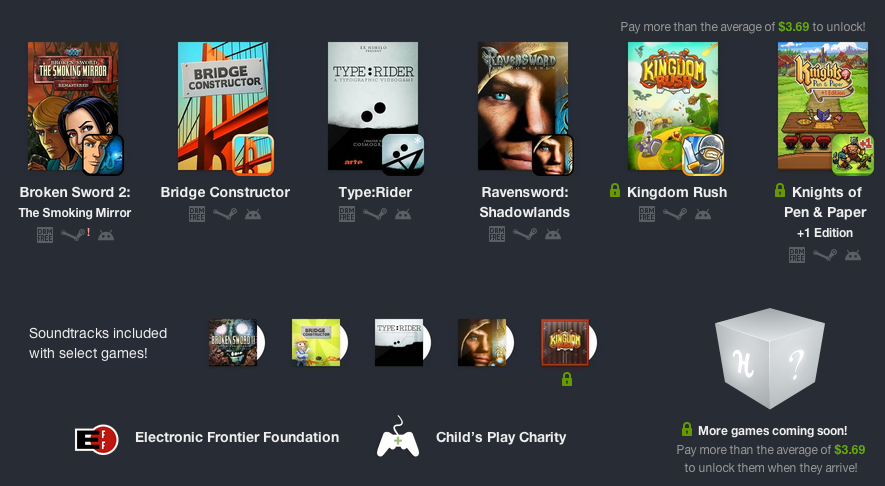Screenshot of Humble Bundle for PC and Android 9 with Linux support