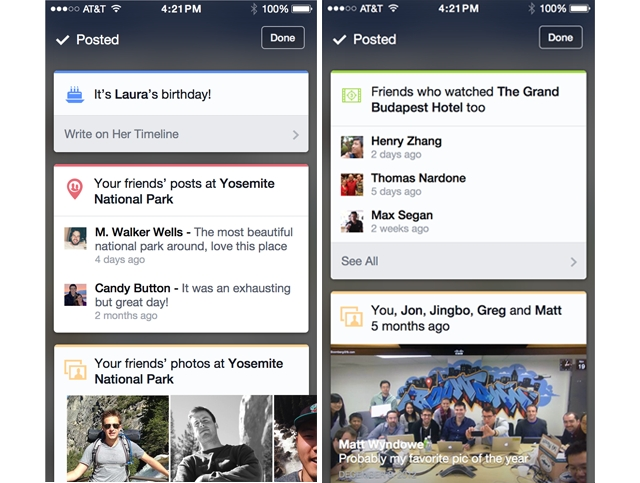 Facebook for iOS cards feature