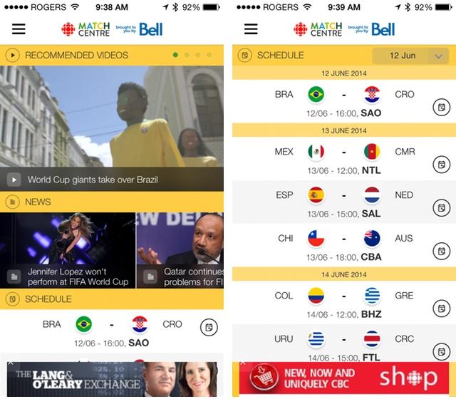 CBC FIFA World Cup app