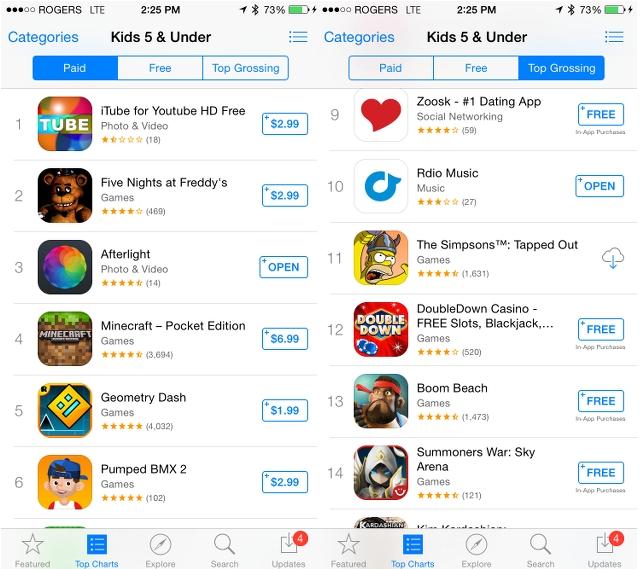 iOS 8 App Store kids category