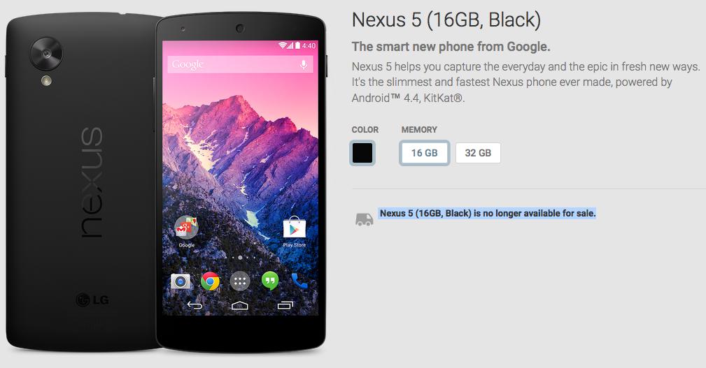 nexus 5 no longer available