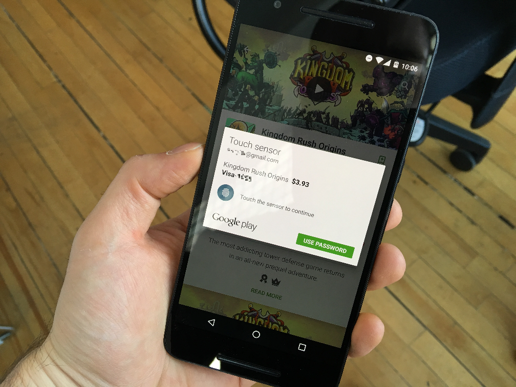 Google Play Fingerprint Support