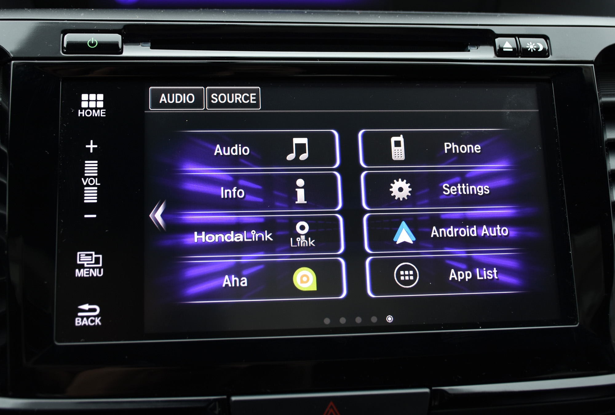HondaLink menu screen_1