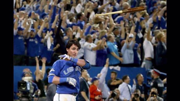 Justin Trudeau Bat Flip