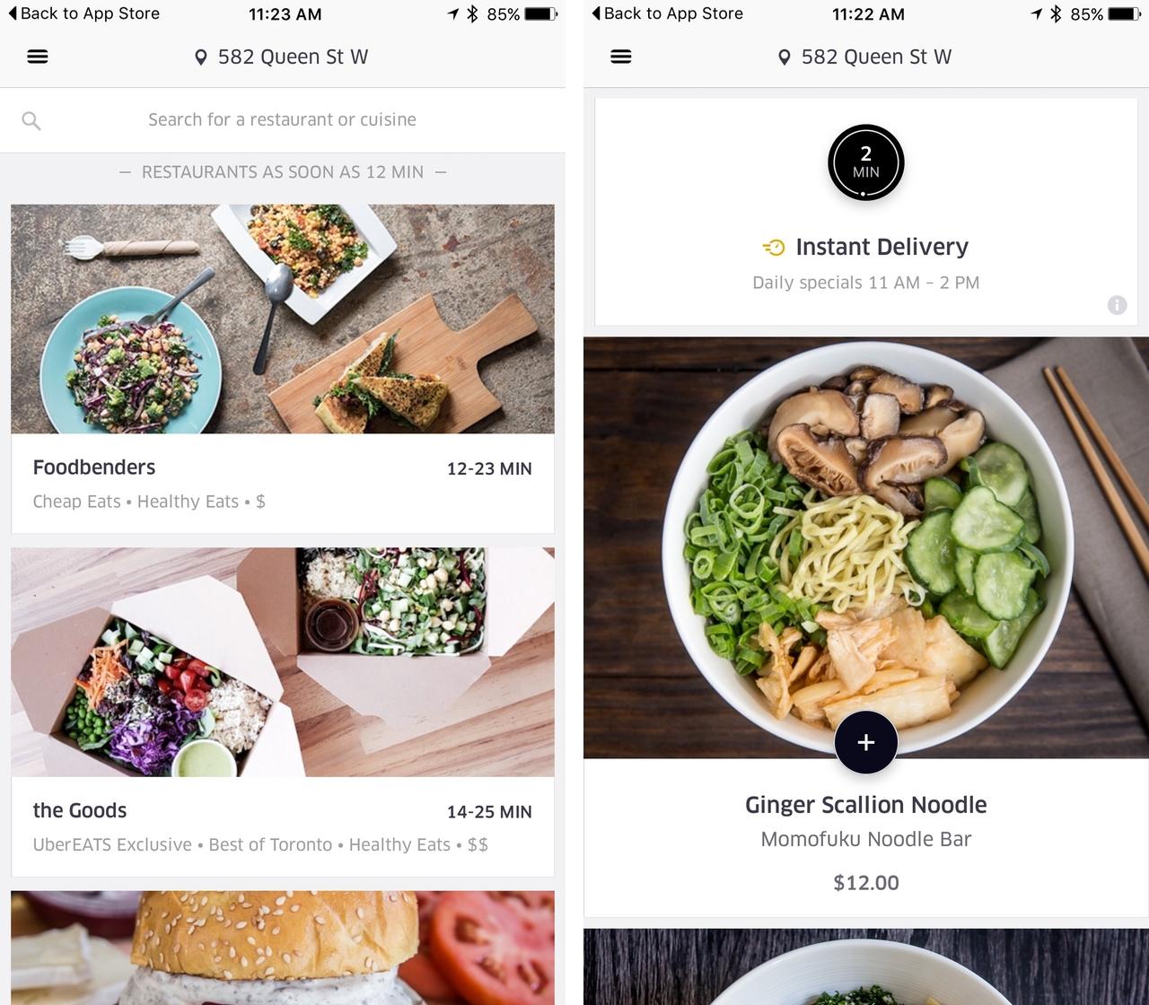 UberEATS Toronto iOS app