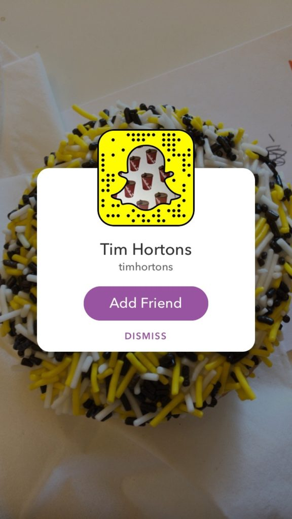 Tim Hortons Snapchat