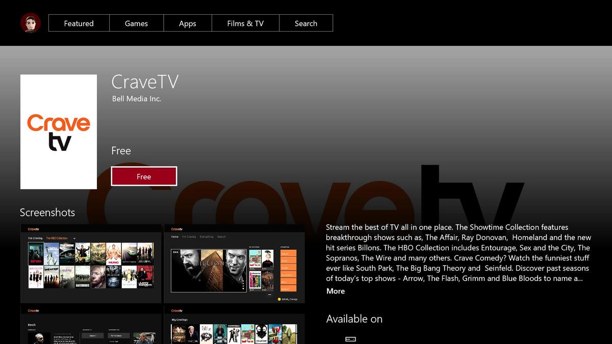 Crave TV Xbox One