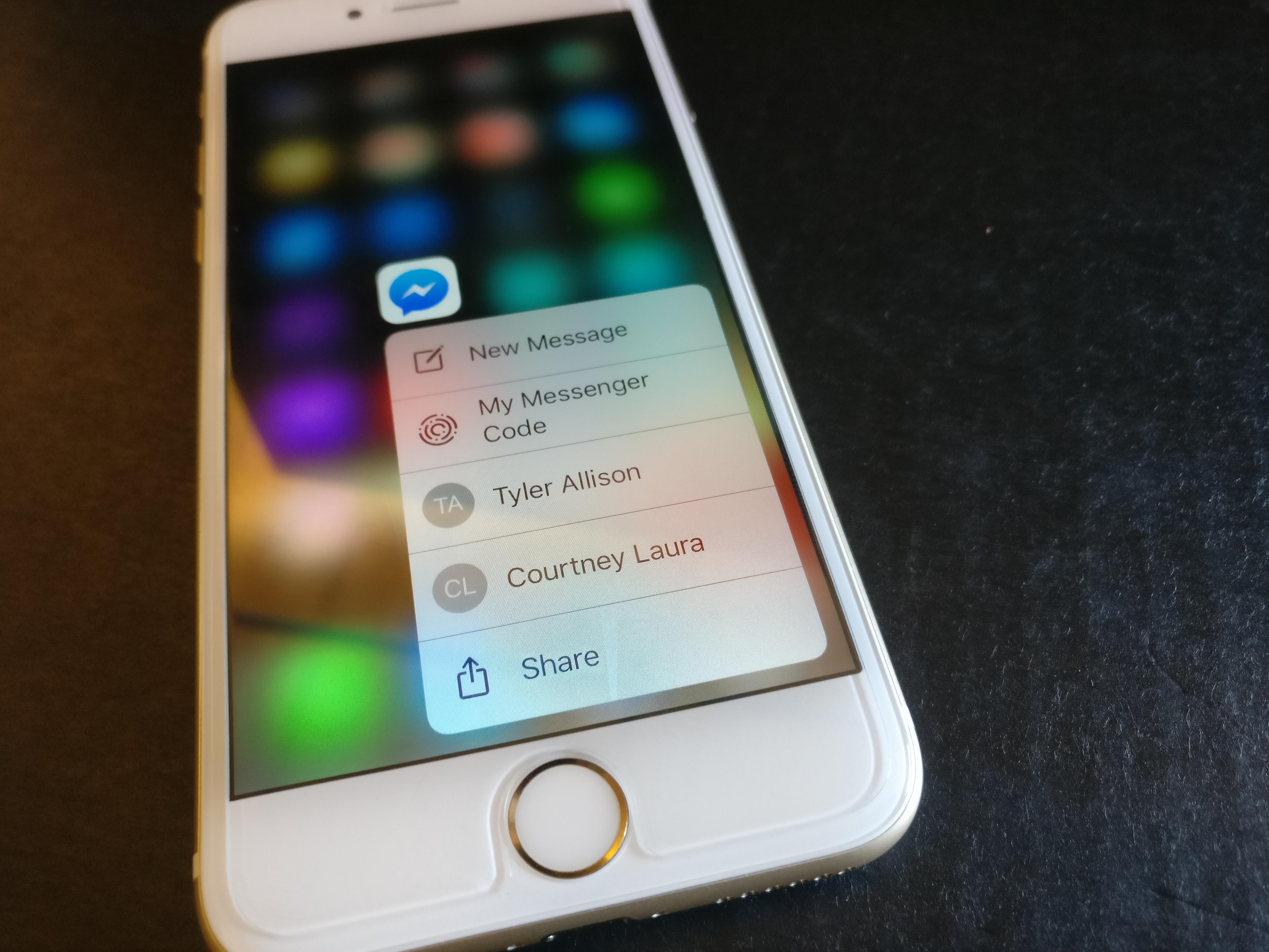 Facebook Messenger 3D Touch iOS