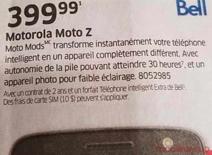 bell moto z contract price
