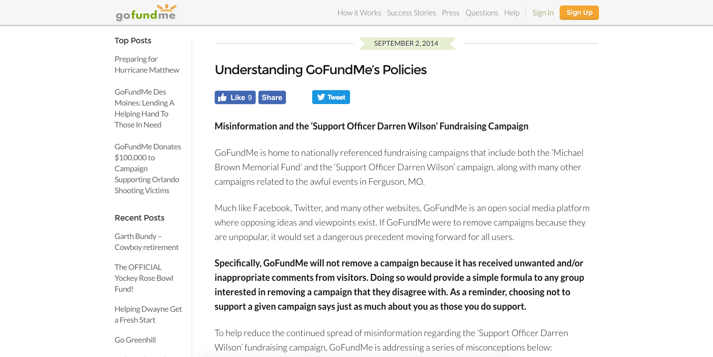 GoFundMe policies