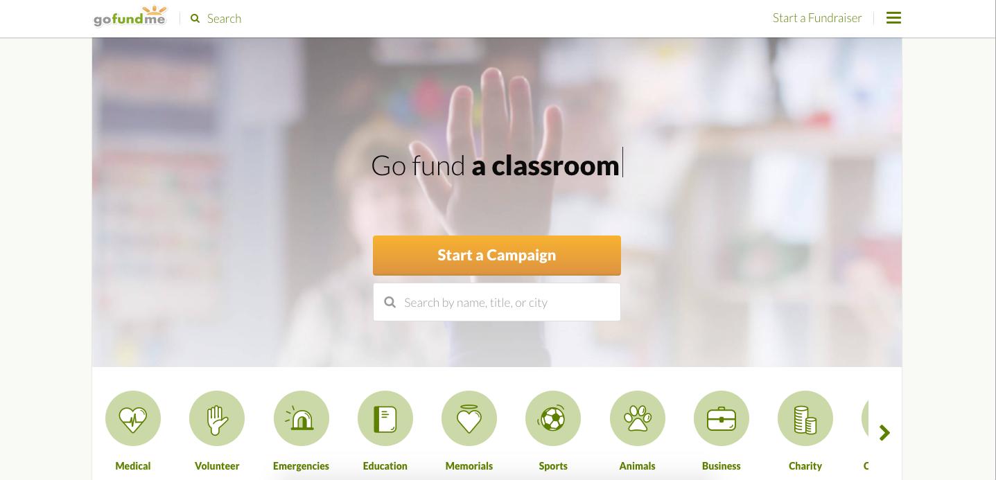 gofundme home page