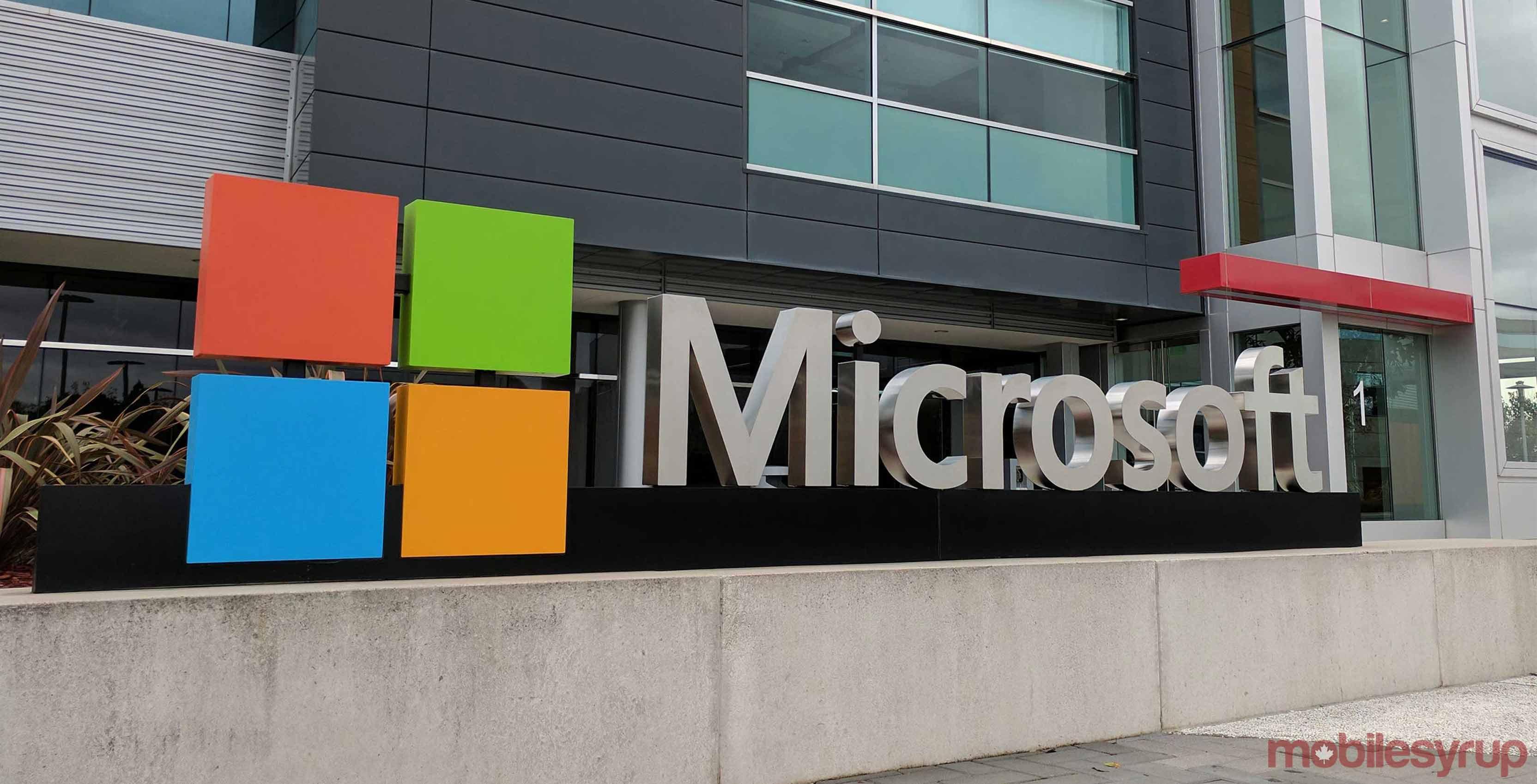 Microsoft logo on building - Microsoft service outage