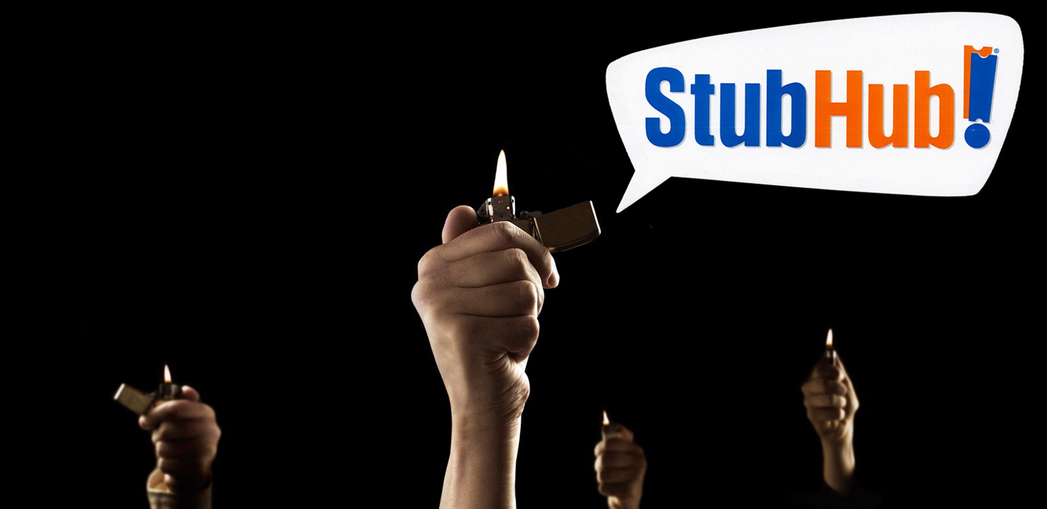 StubHub people holding lighters