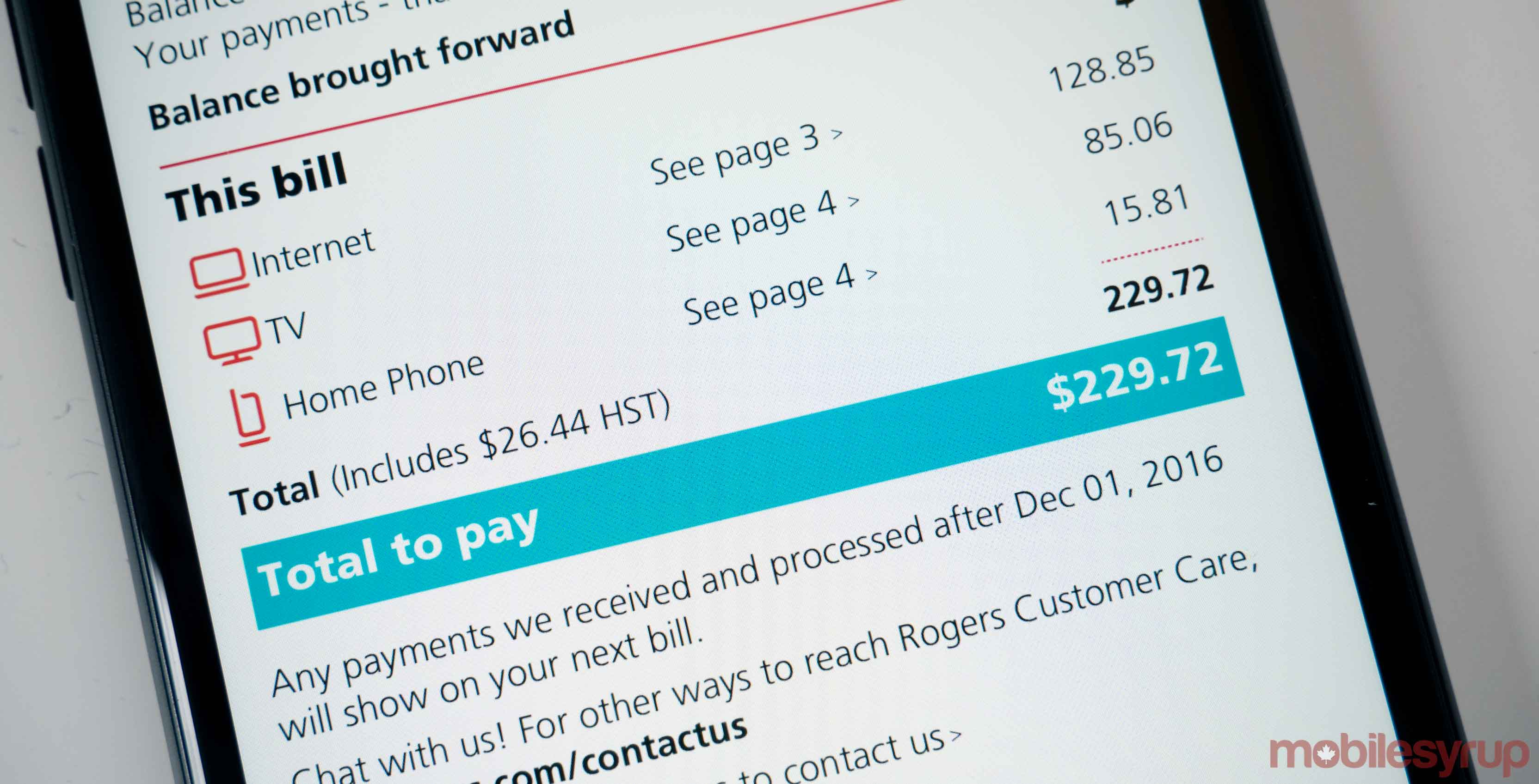 A screenshot of a Rogers wireless bill