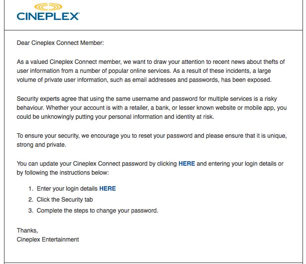Cineplex warning e-mail