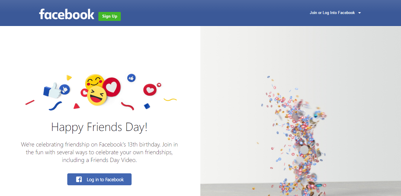 Facebook Friends Day Screenshot