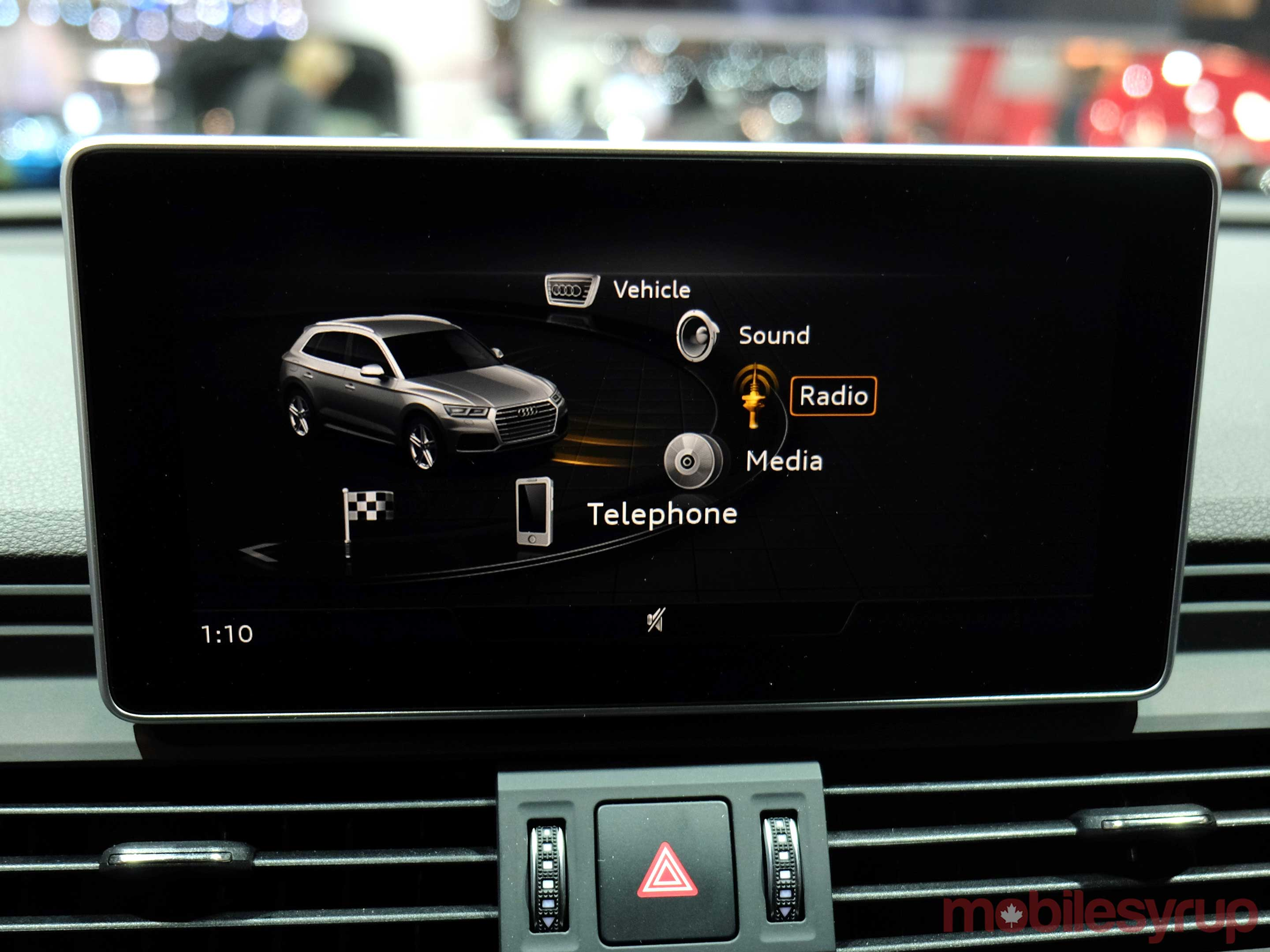 Audi infotainment screen at auto show