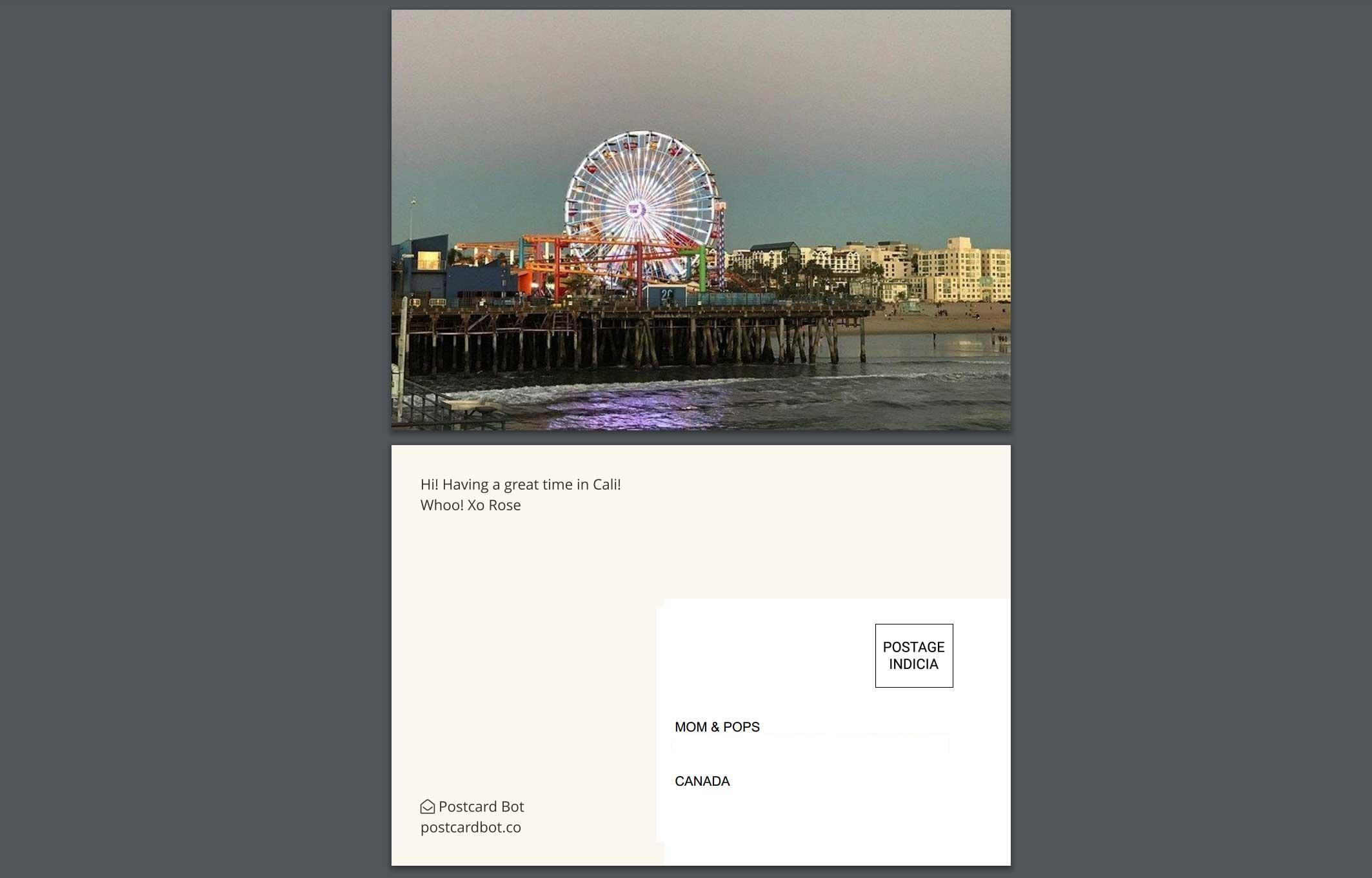 california santa monica ferris wheel postcard mockup - postcard bot
