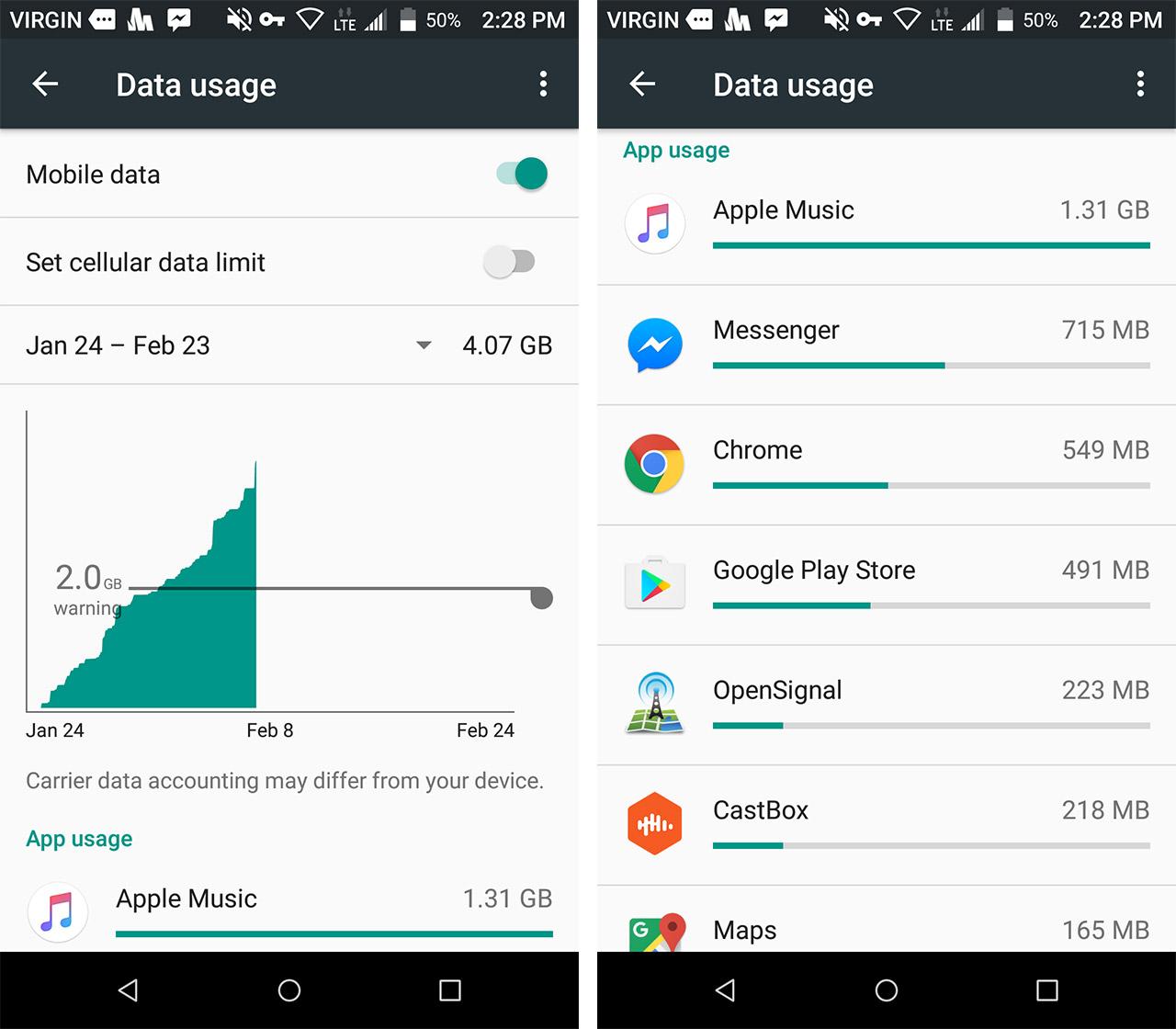 data usage screen shots - save data