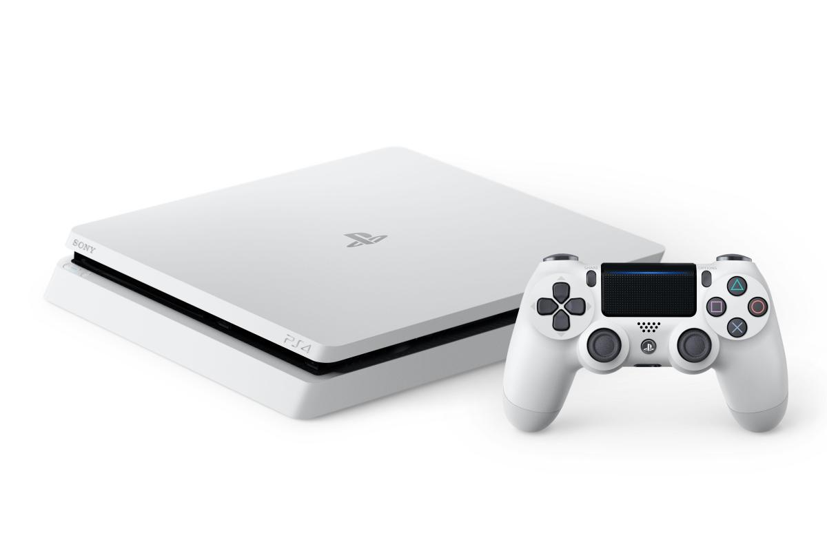 Glacier White PlayStation 4 Slim console and DualShock 4 controller