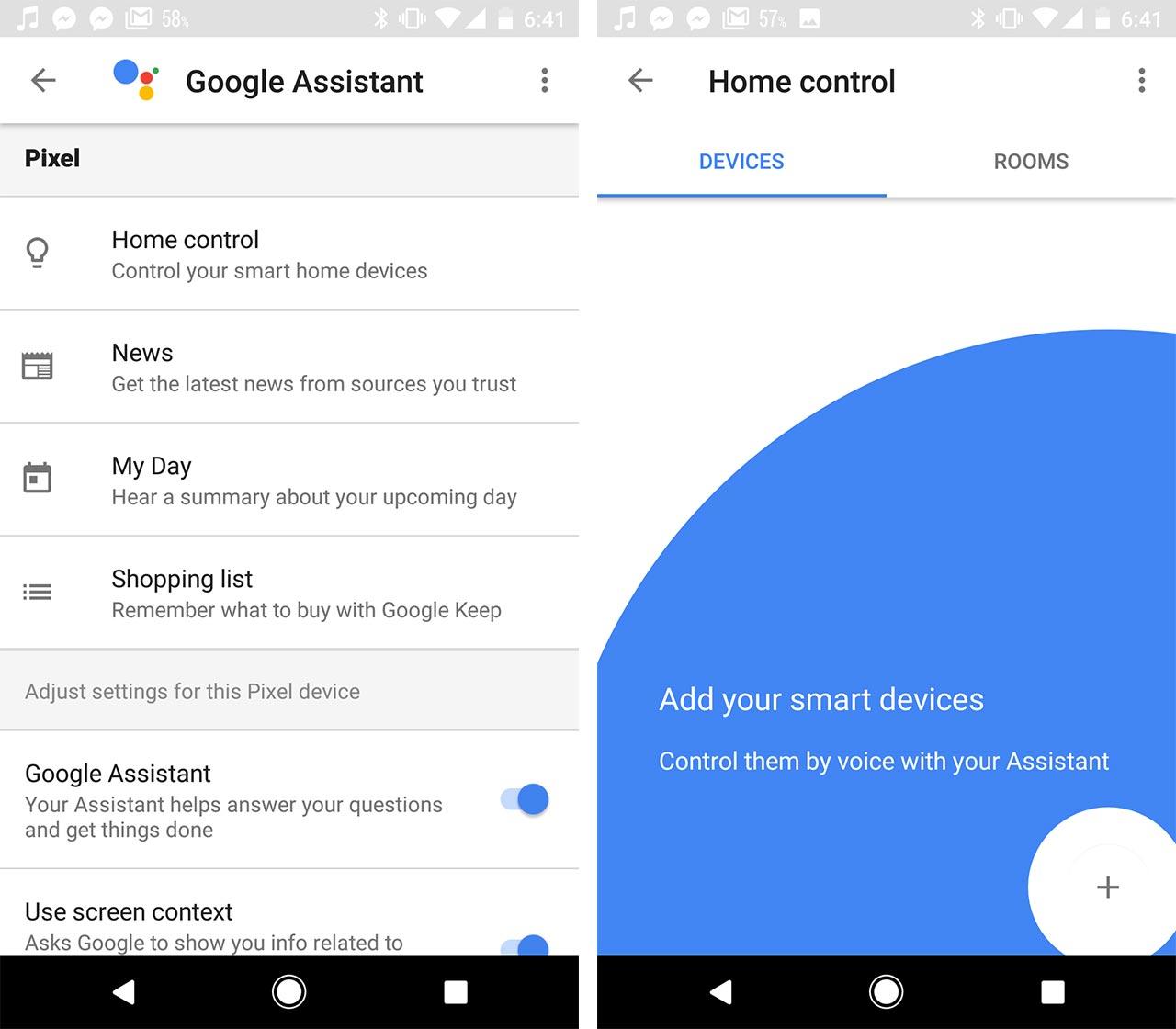 google assistant home control screen shots