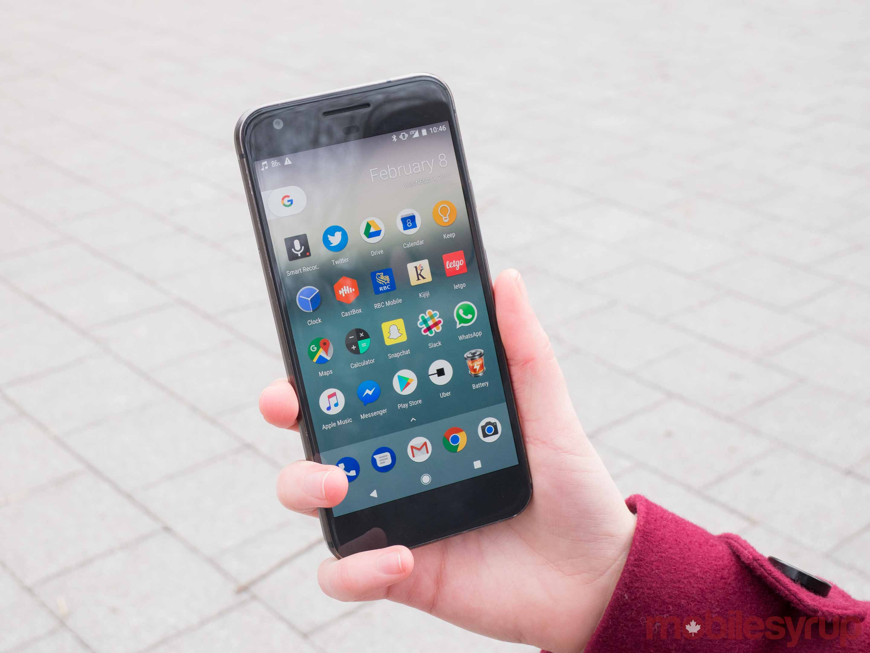 Google Pixel held in a hand