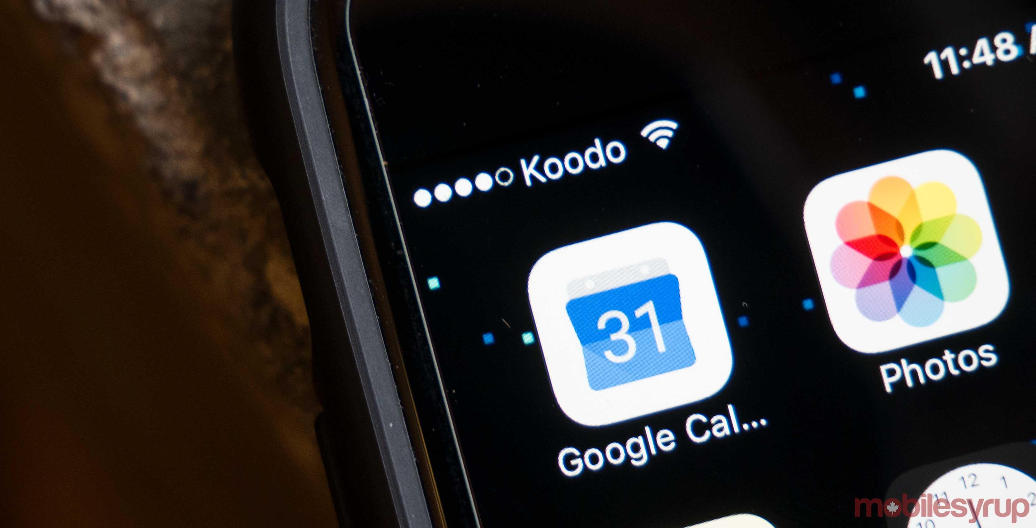 Koodo wireless signal shown on a smartphone