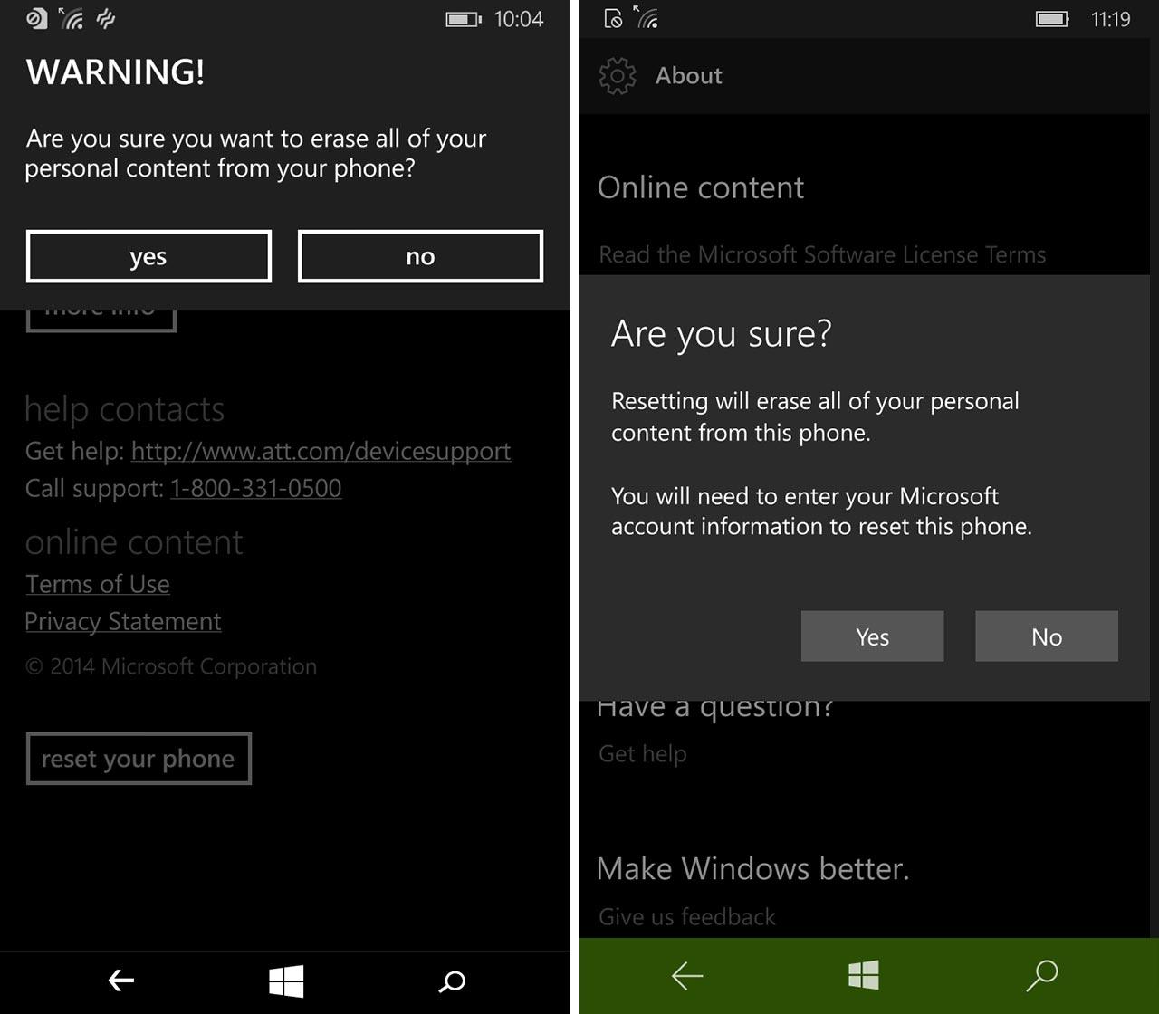 Final screenshot of resetting Windows Phone