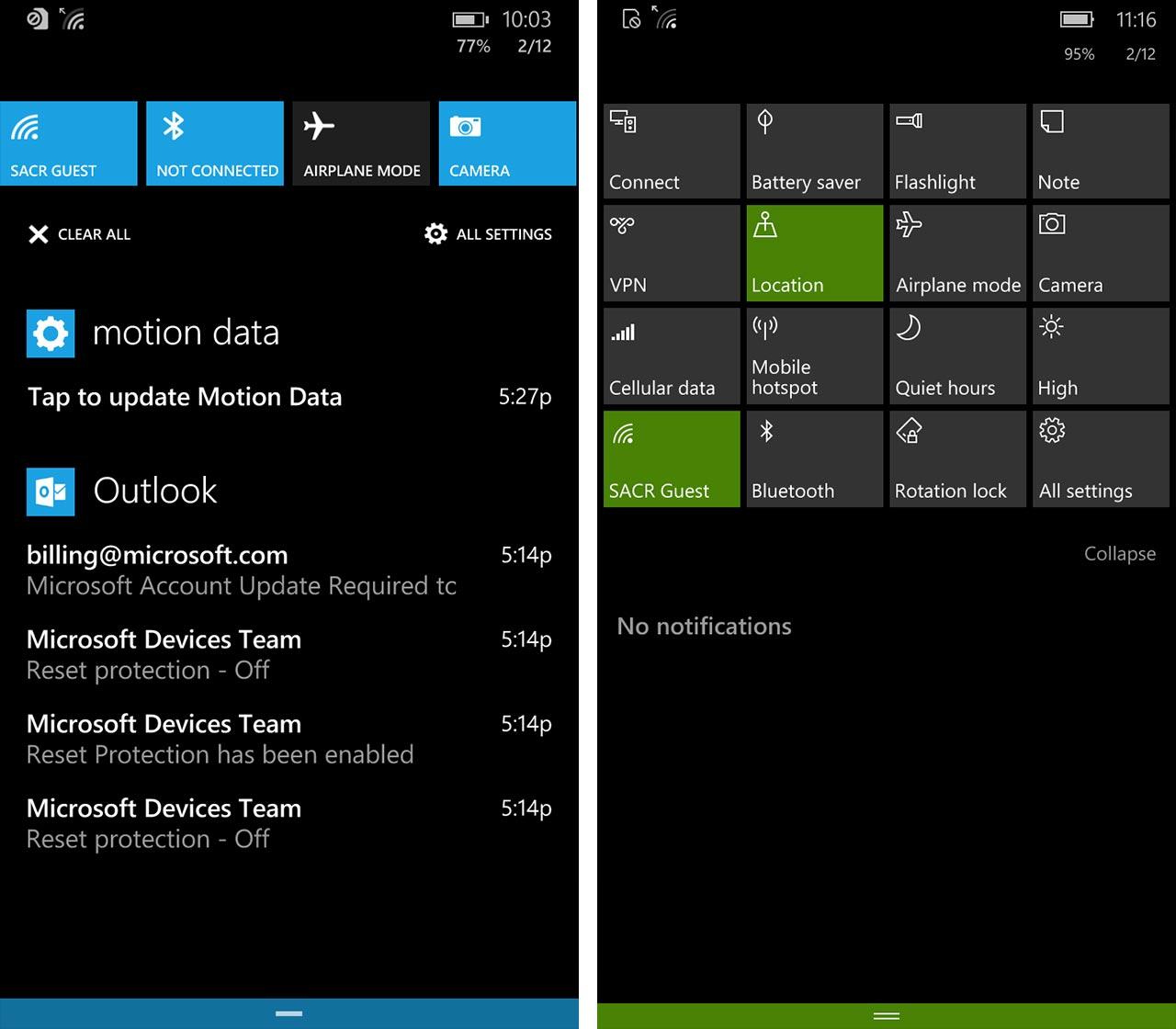 Locating settings on windows phone screenshot