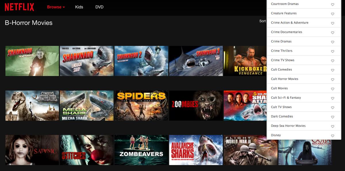 Netflix 'hidden' subcategories