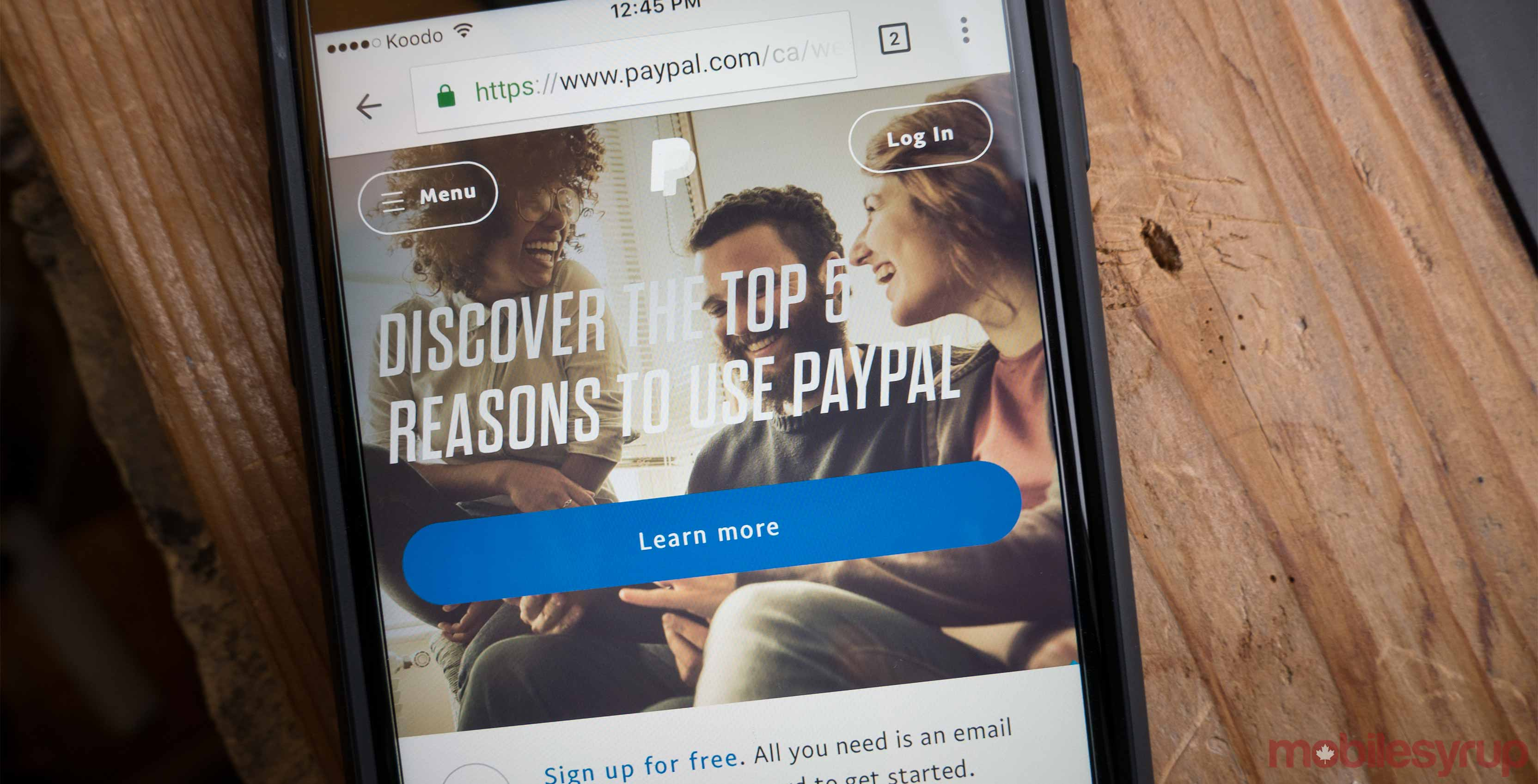 Paypal home page on a smartphone - peer-to-peer payments