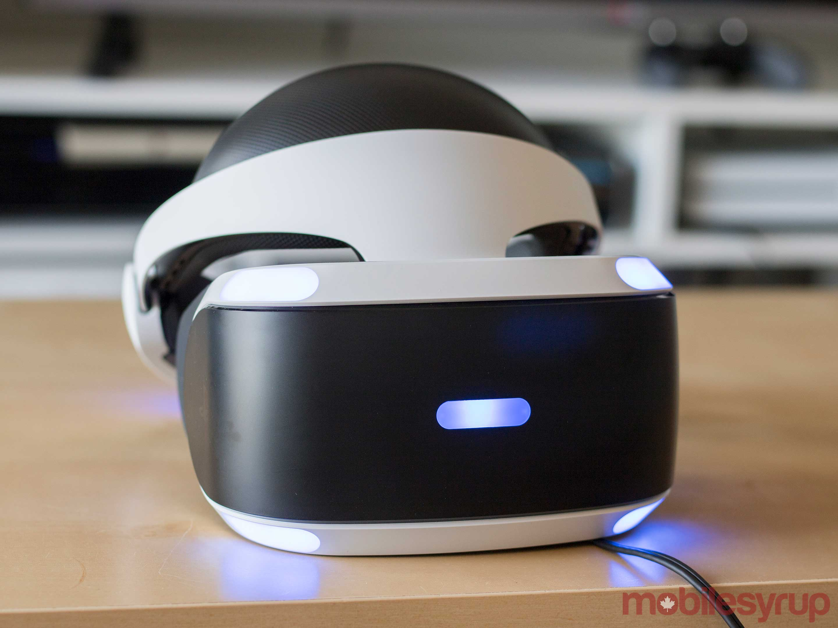 Front view of Sony's PlayStation VR headset
