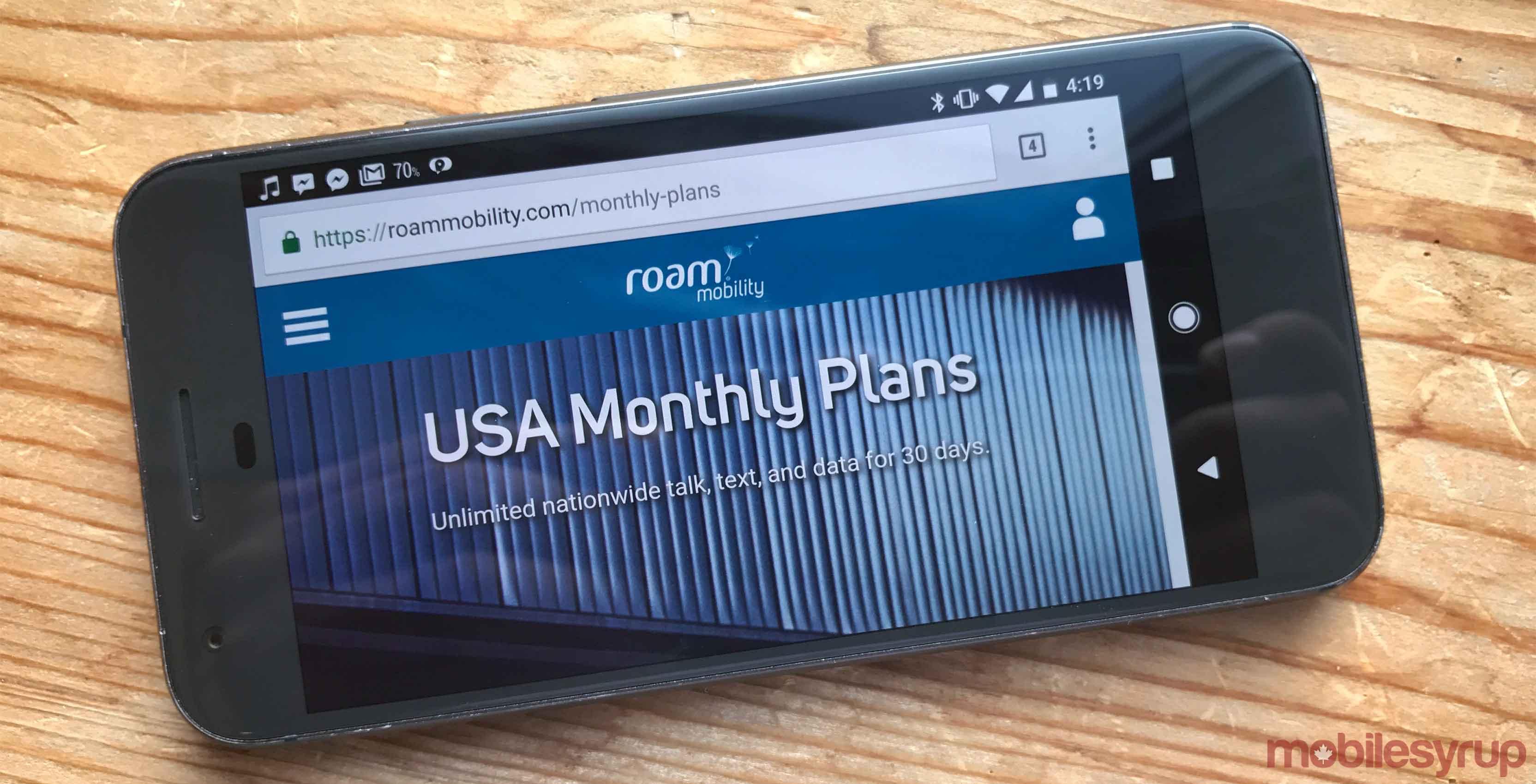Roam Mobility website on a phone