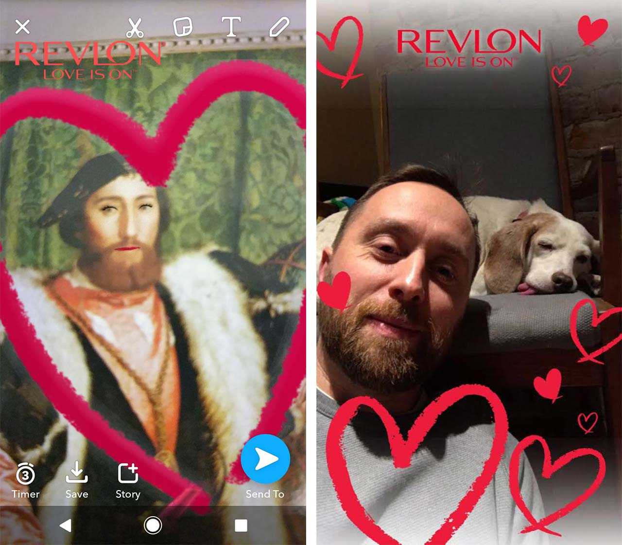 snapchat revlon valentines lens of medieval man with lipstick and geofilter of man and sleeping dog - snapchat makeup lens