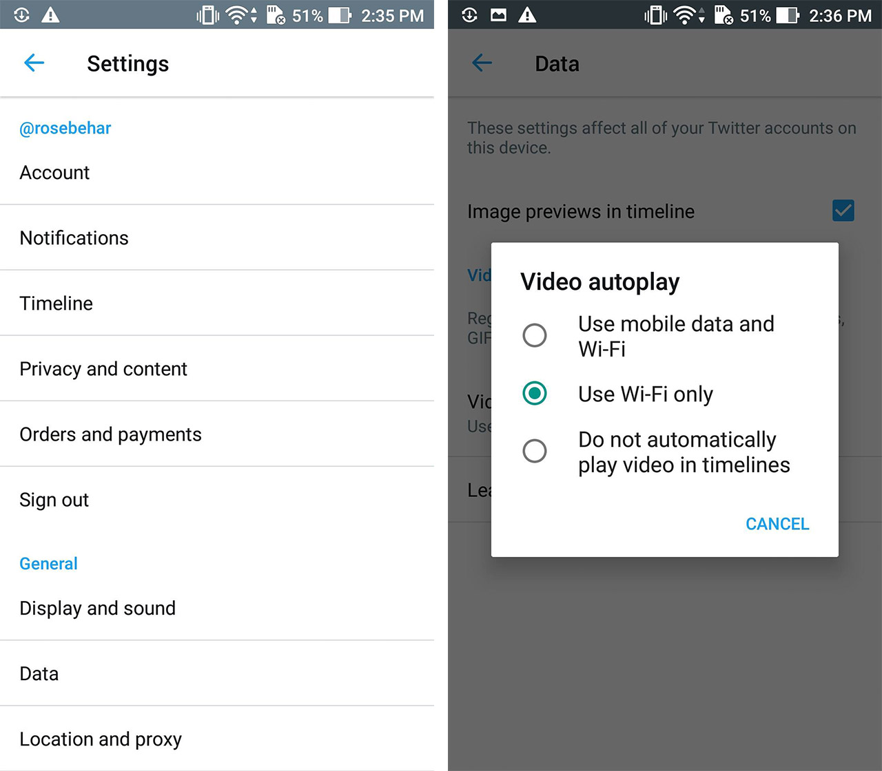 twitter autoplay screen shots - save data