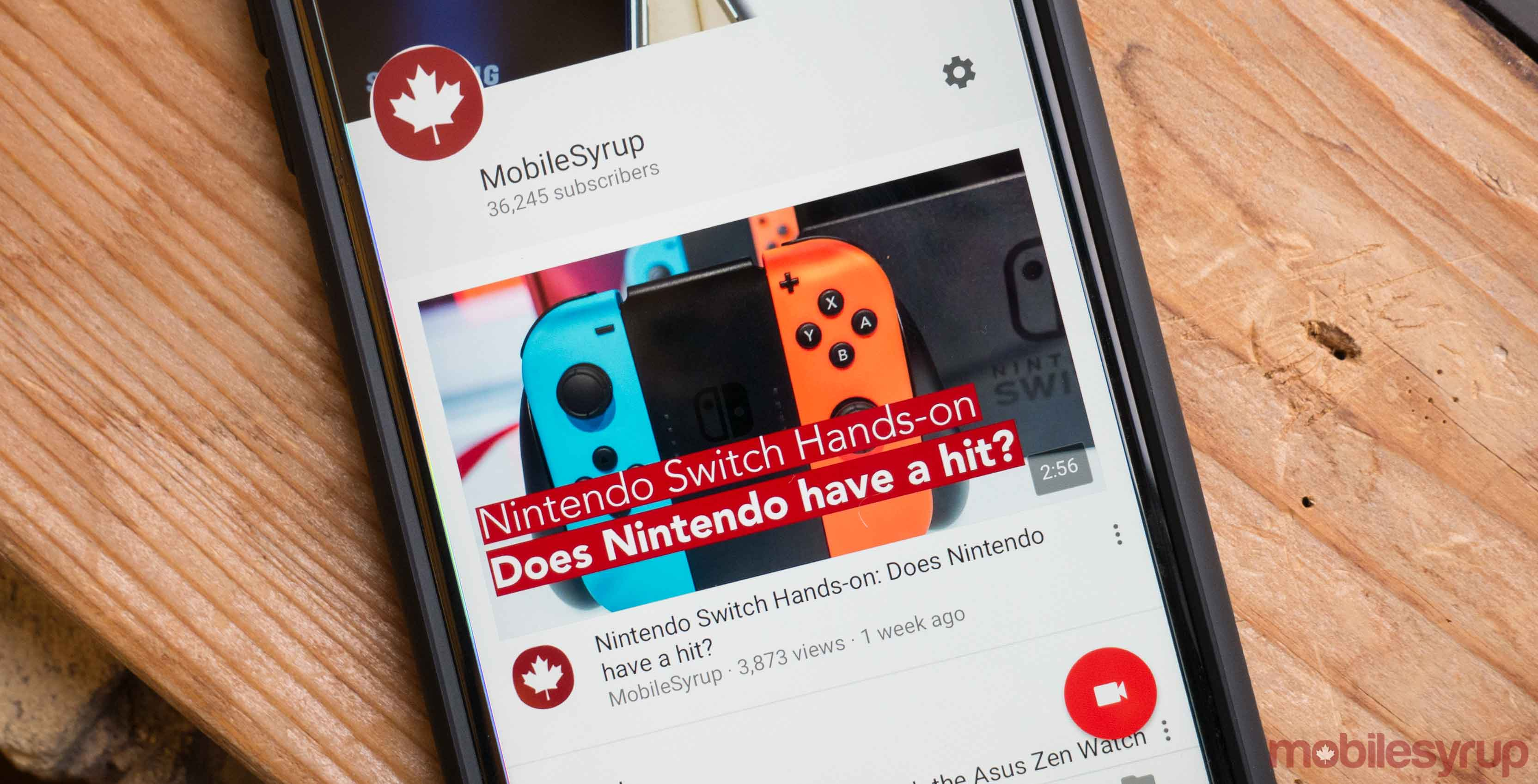 YouTube App displaying MobileSyrup - YouTube live streaming