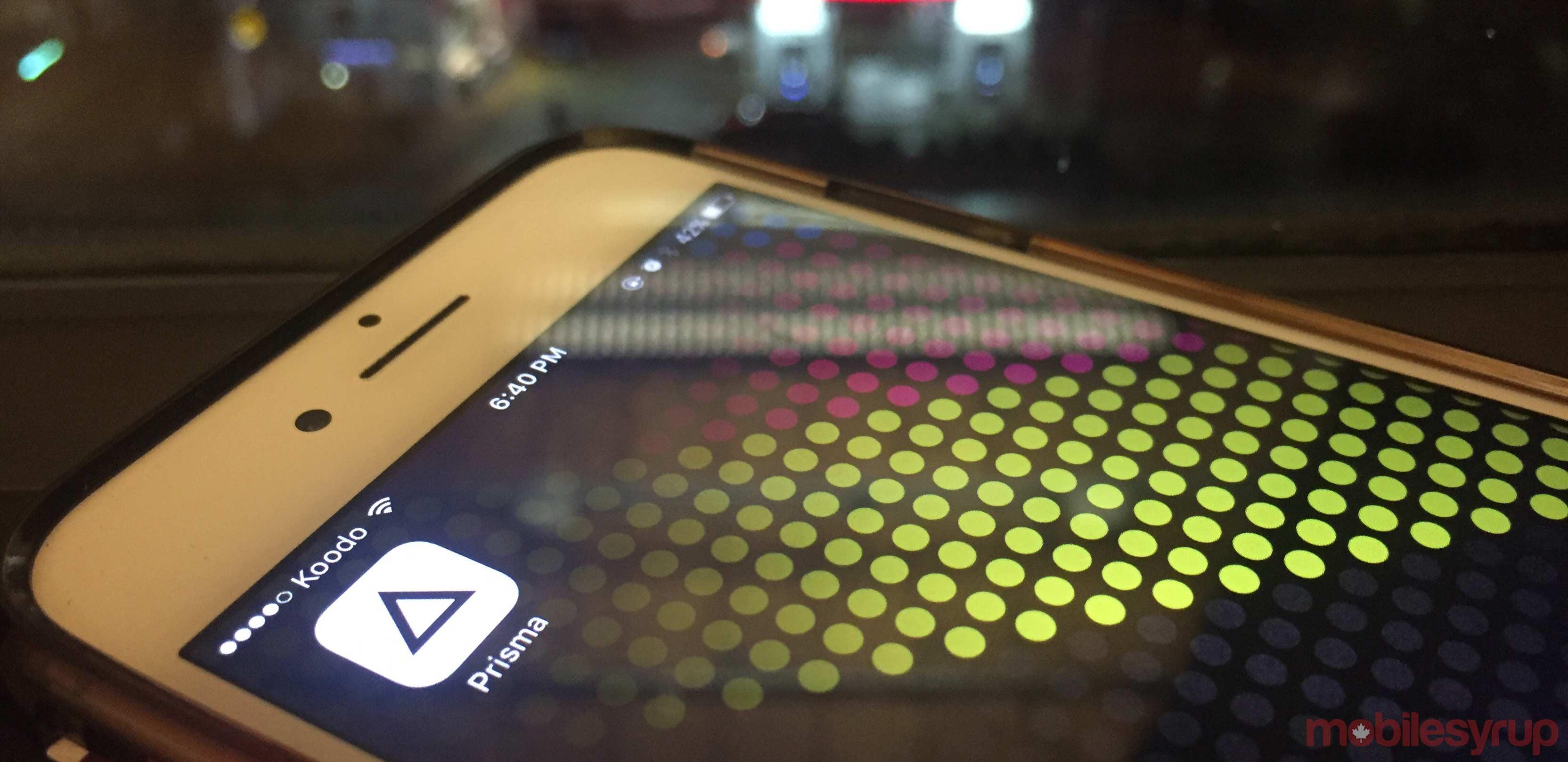 Prisma app on iPhone