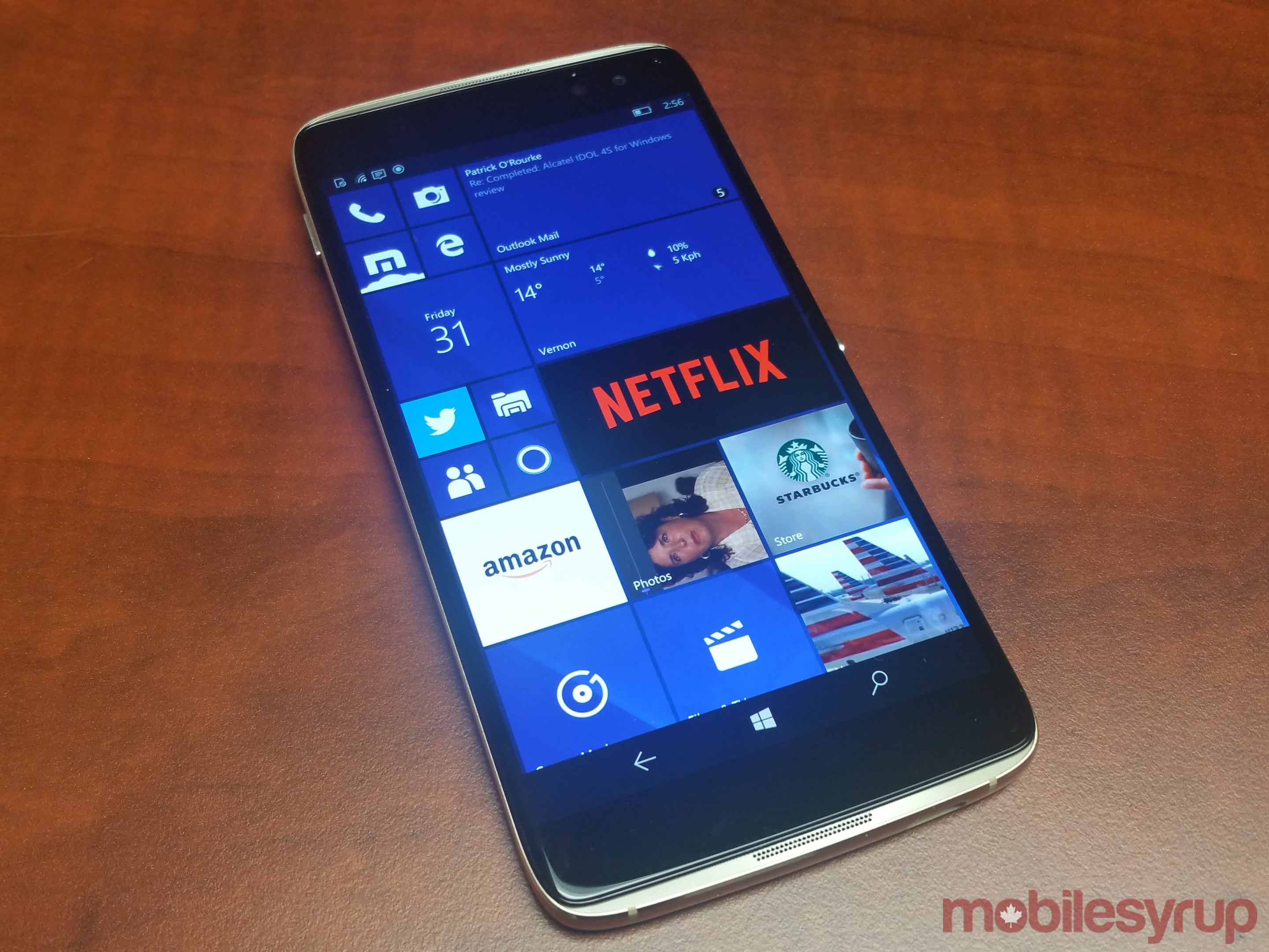 Alcatel Idol 4S windows phone main view