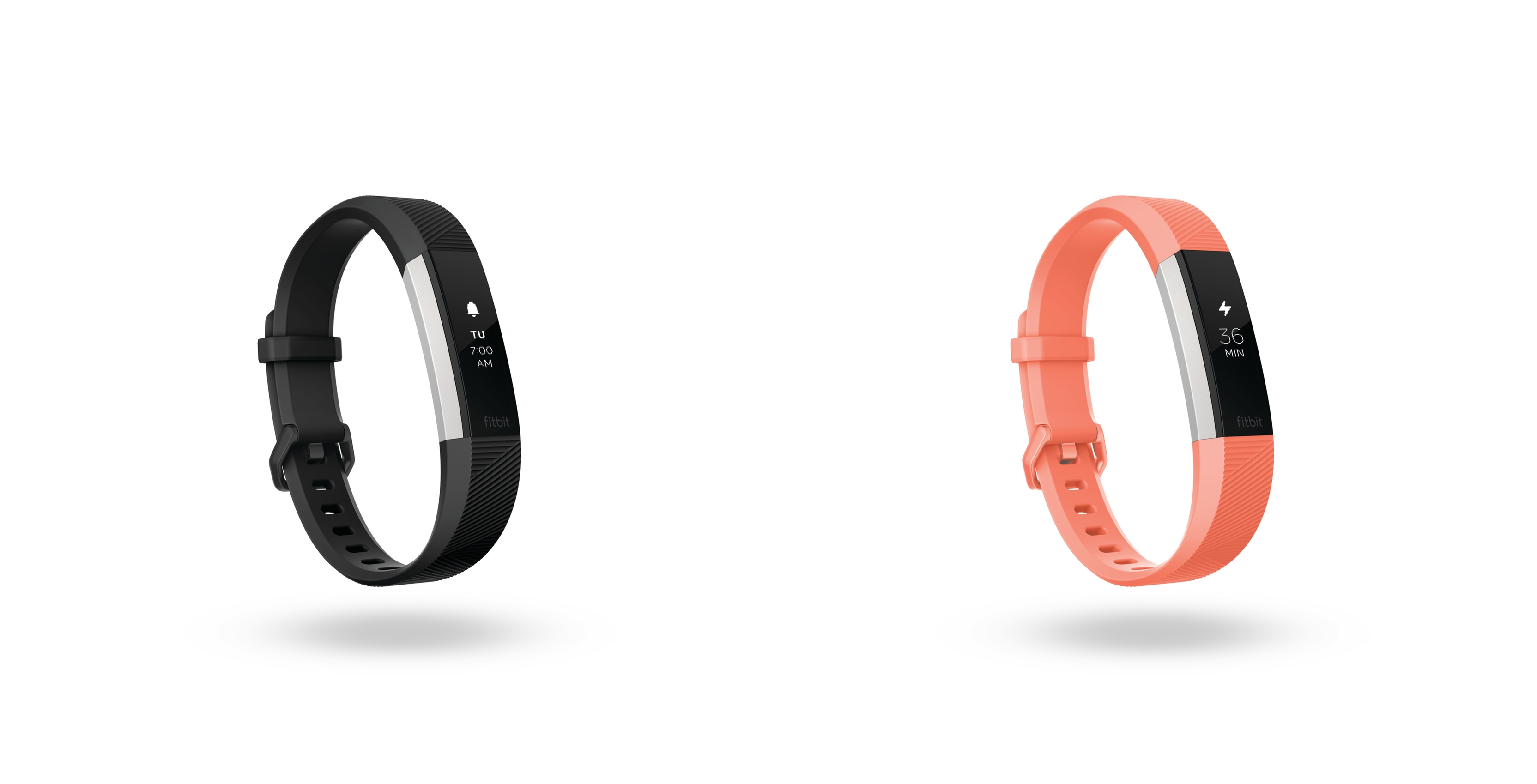 Fitbit Alta HR fitness trackers in black and coral