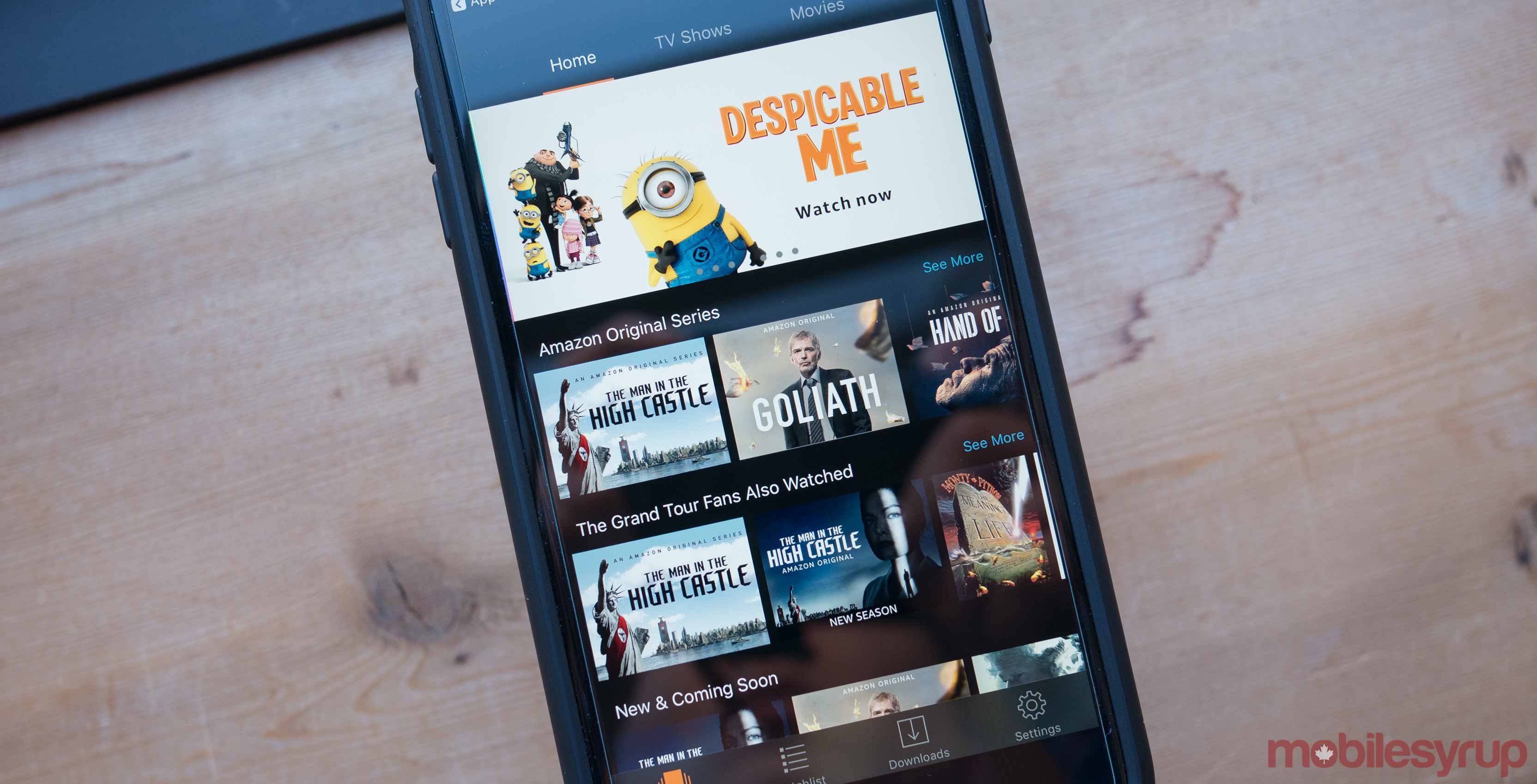 Amazon Prime video on smartphone