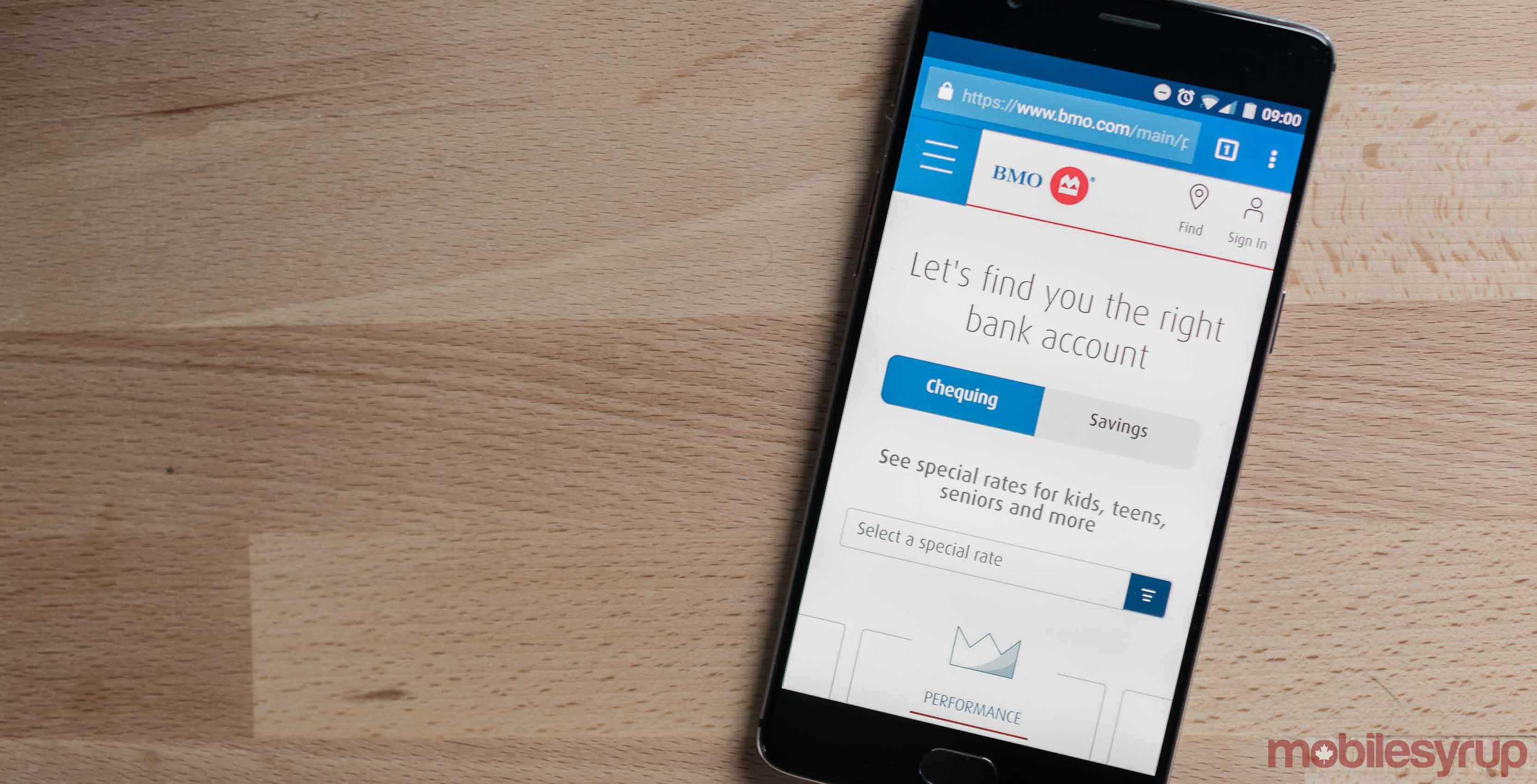 Bank of Montreal app on a phone