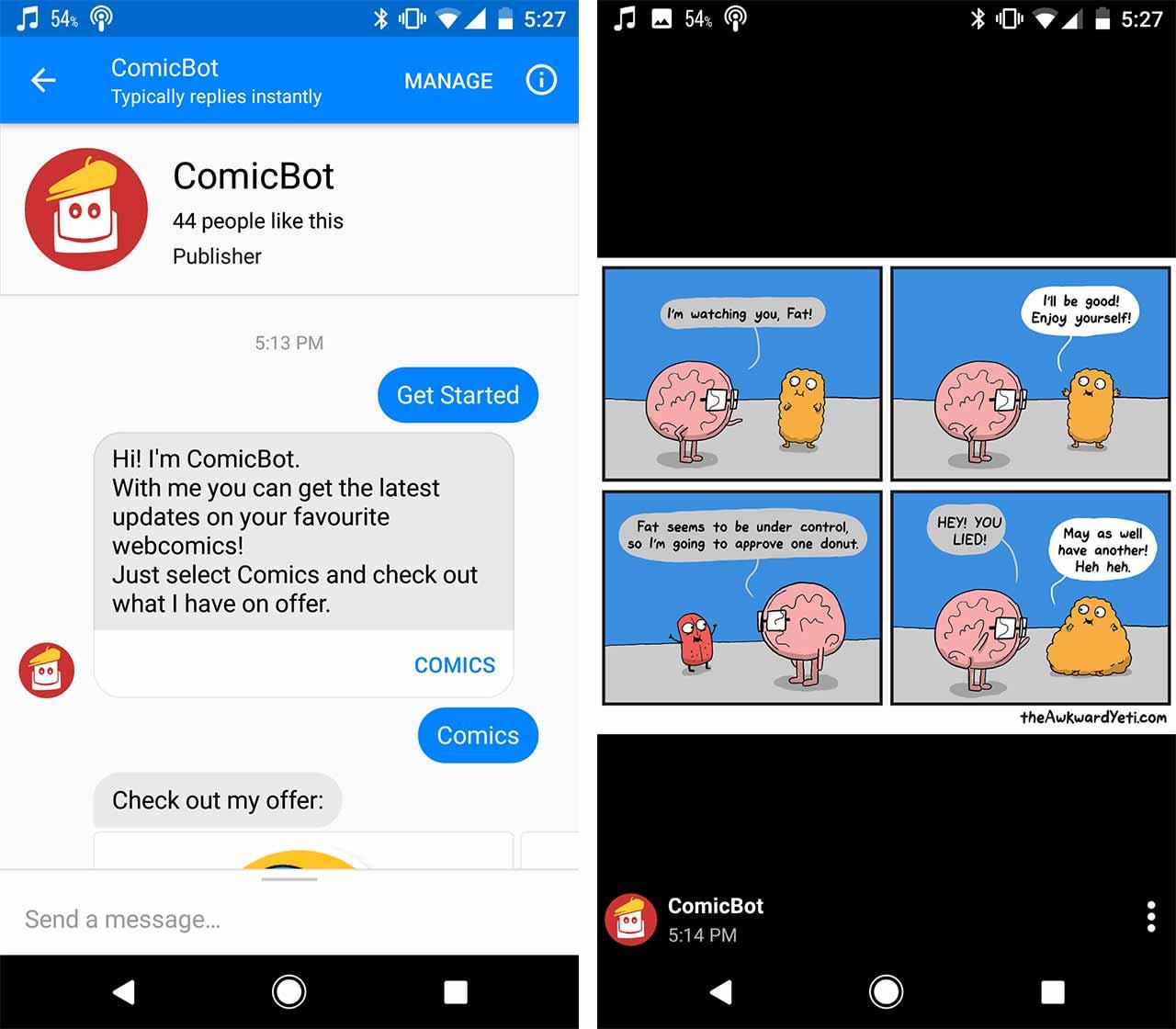 comicbot facebook messenger