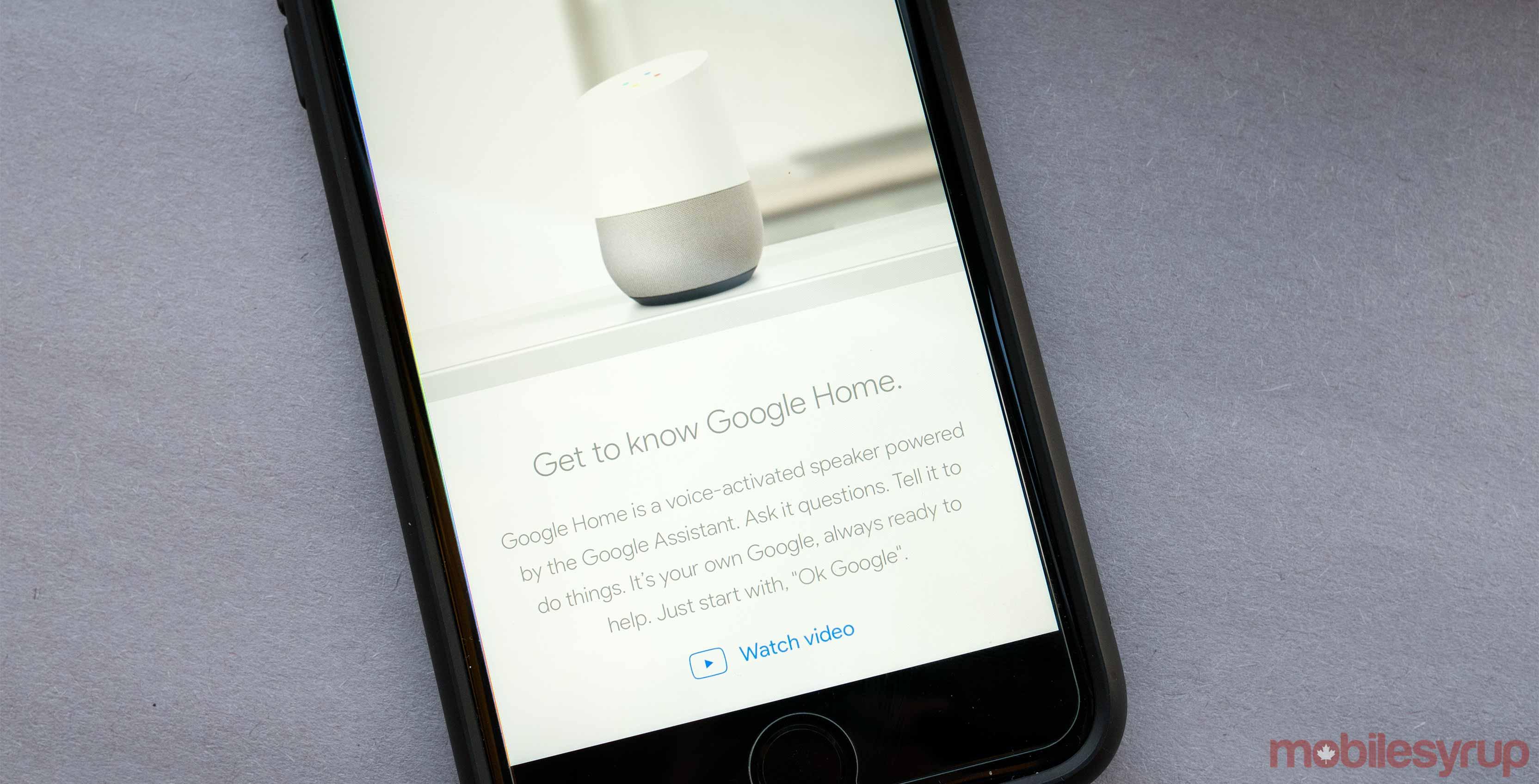 Google Home on smartphone