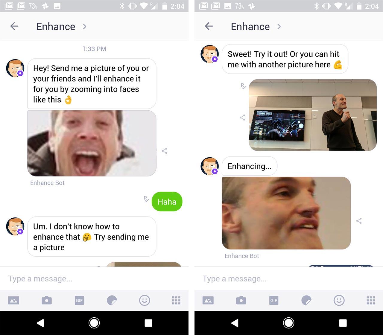 enhance on kik - bot screenshots