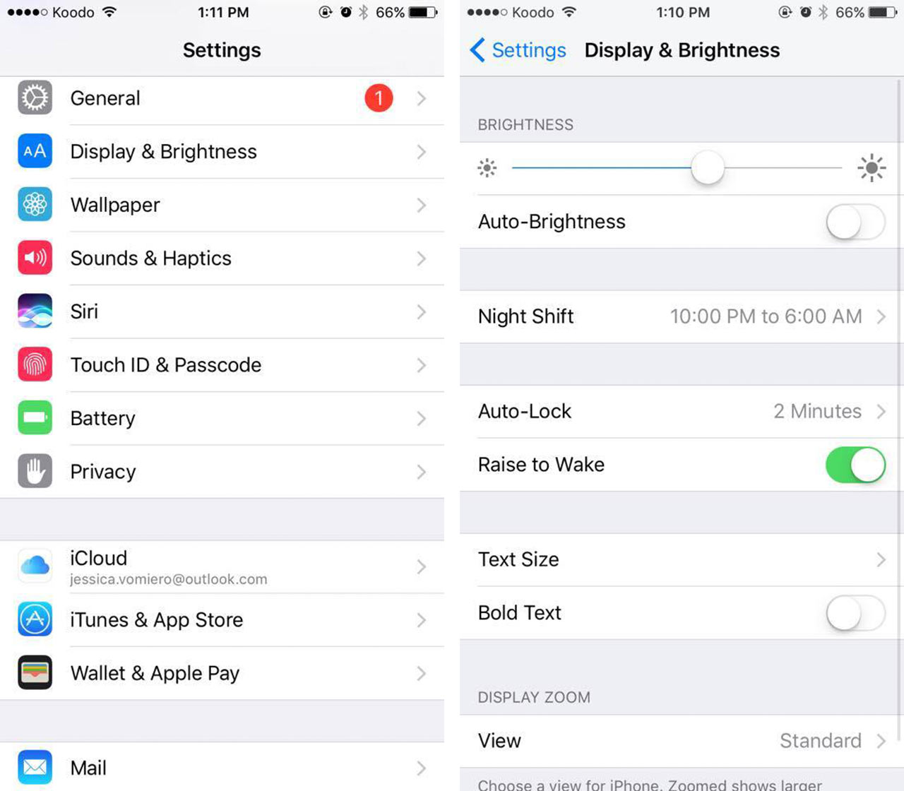 iPhone Settings Screenshots