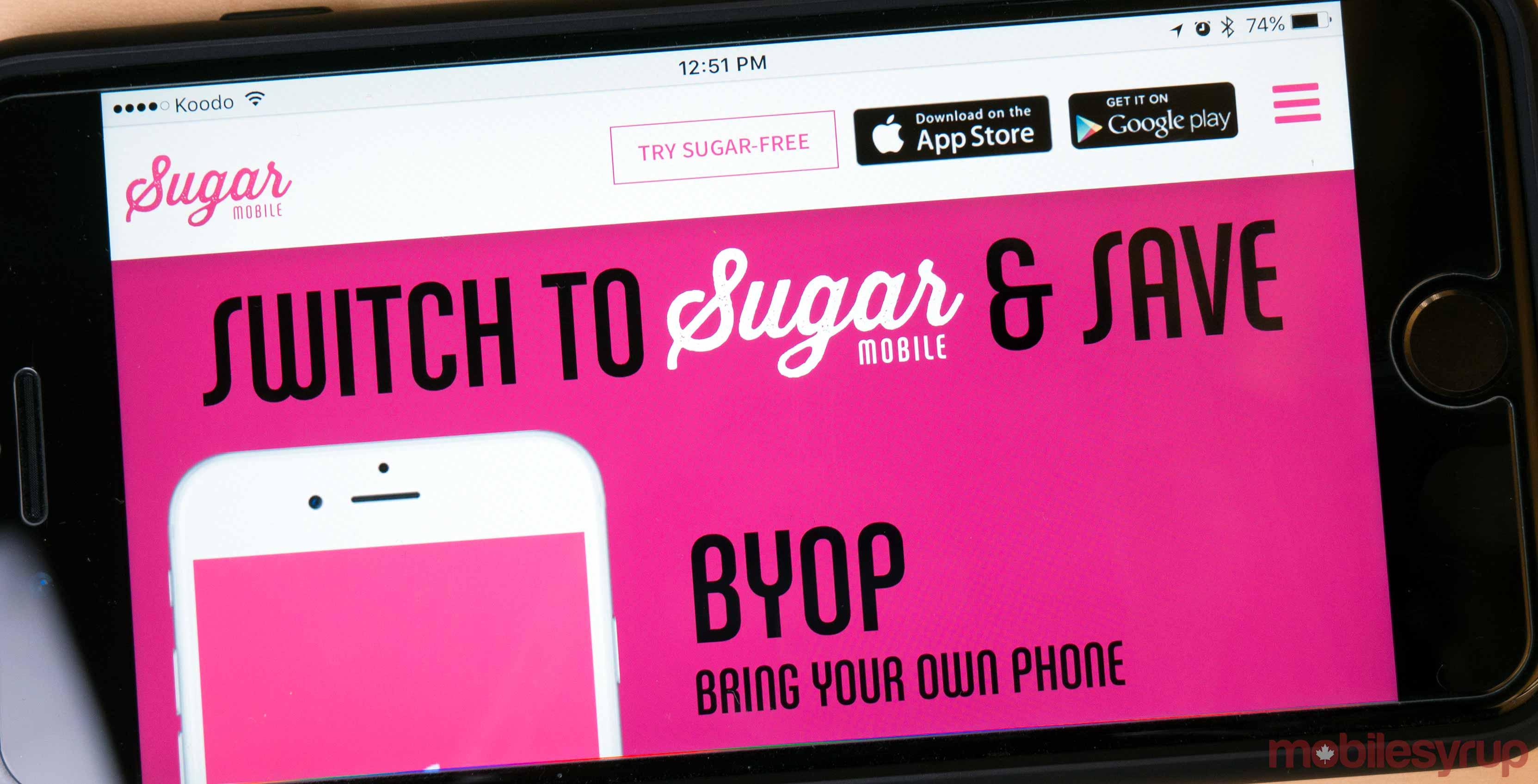 Sugar Mobile on a website