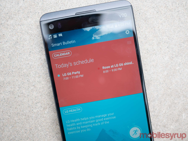 LG V20 ticker display