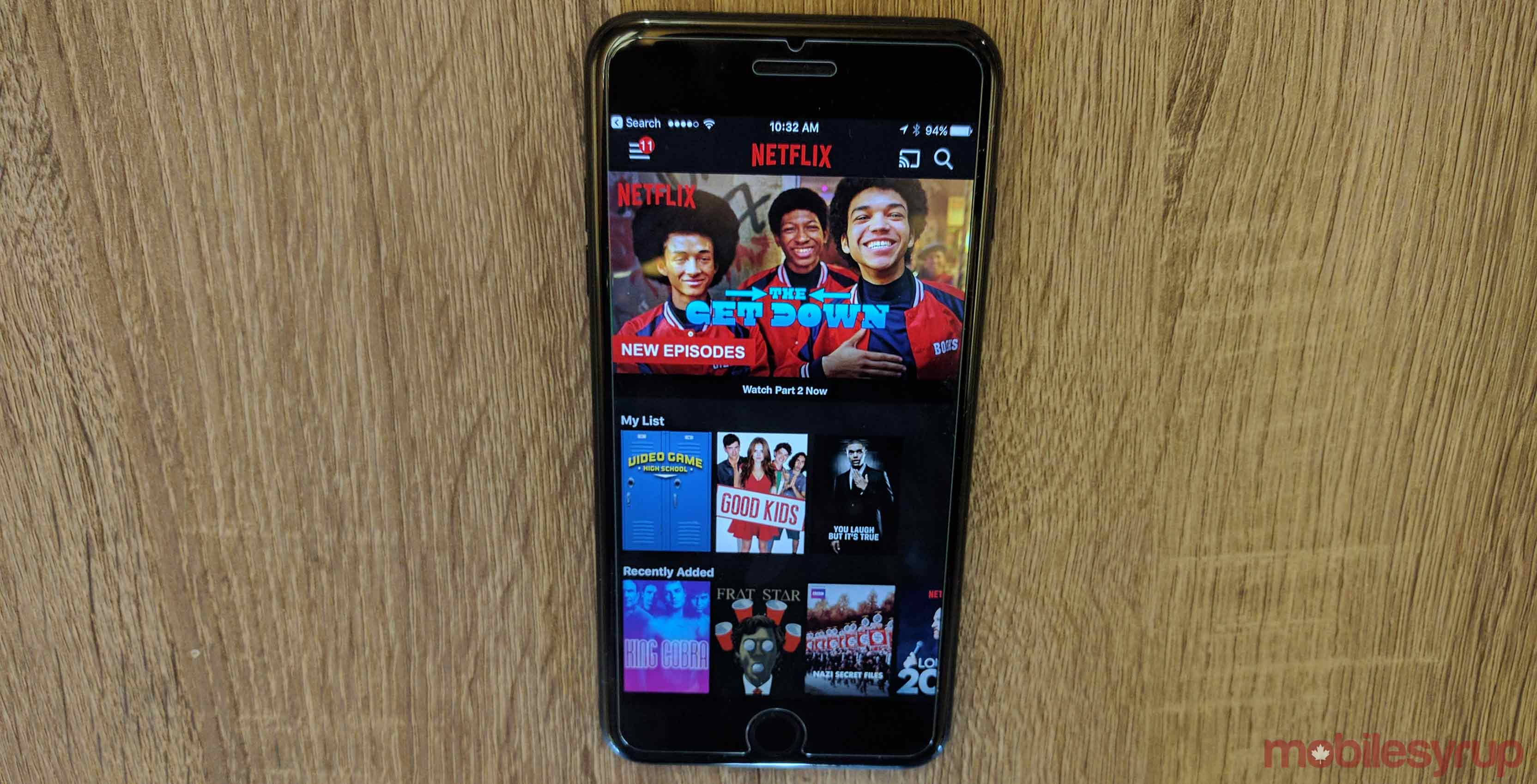 Netflix app opened on an iPhone 7