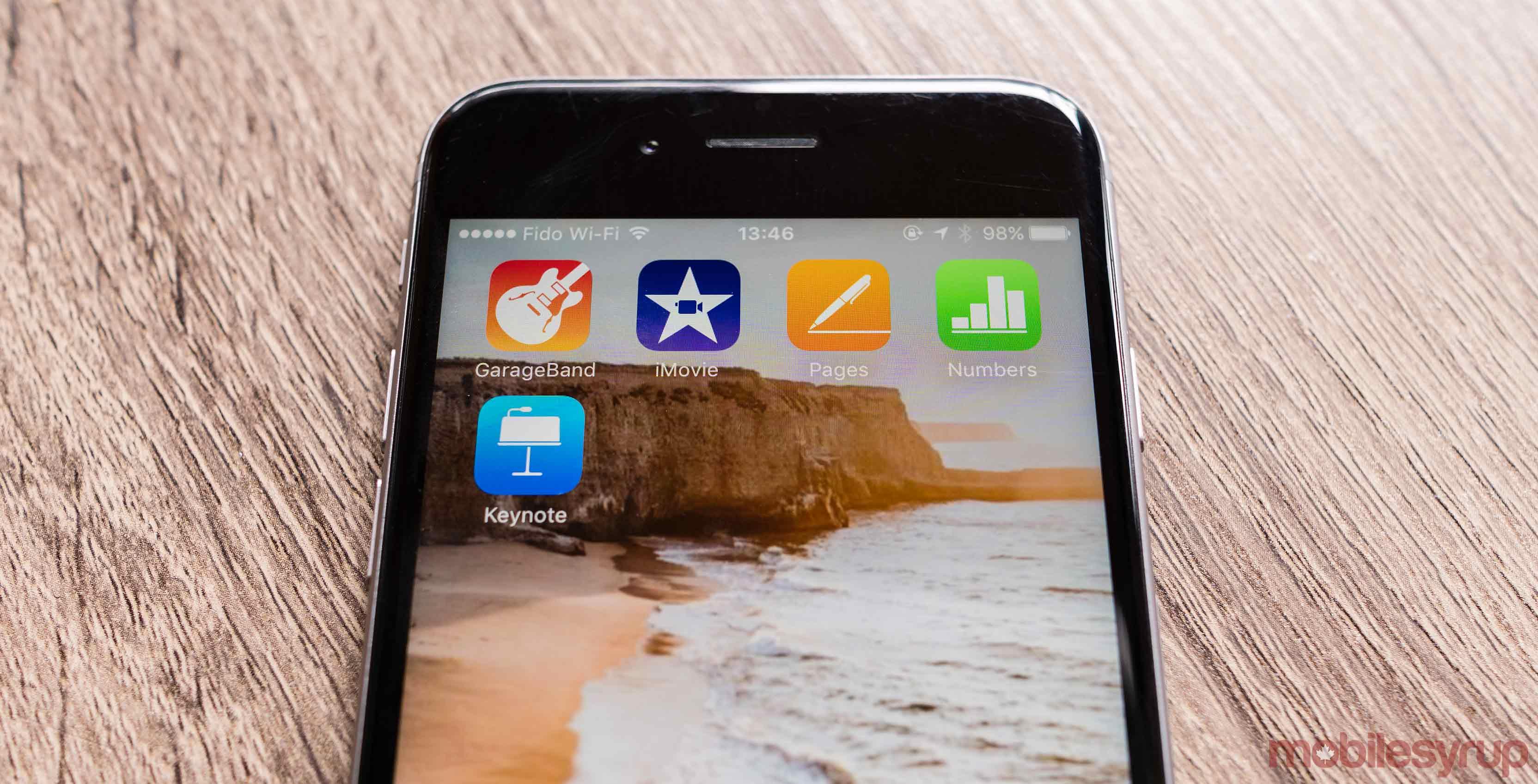 iOS iMovie, iwork Garageband