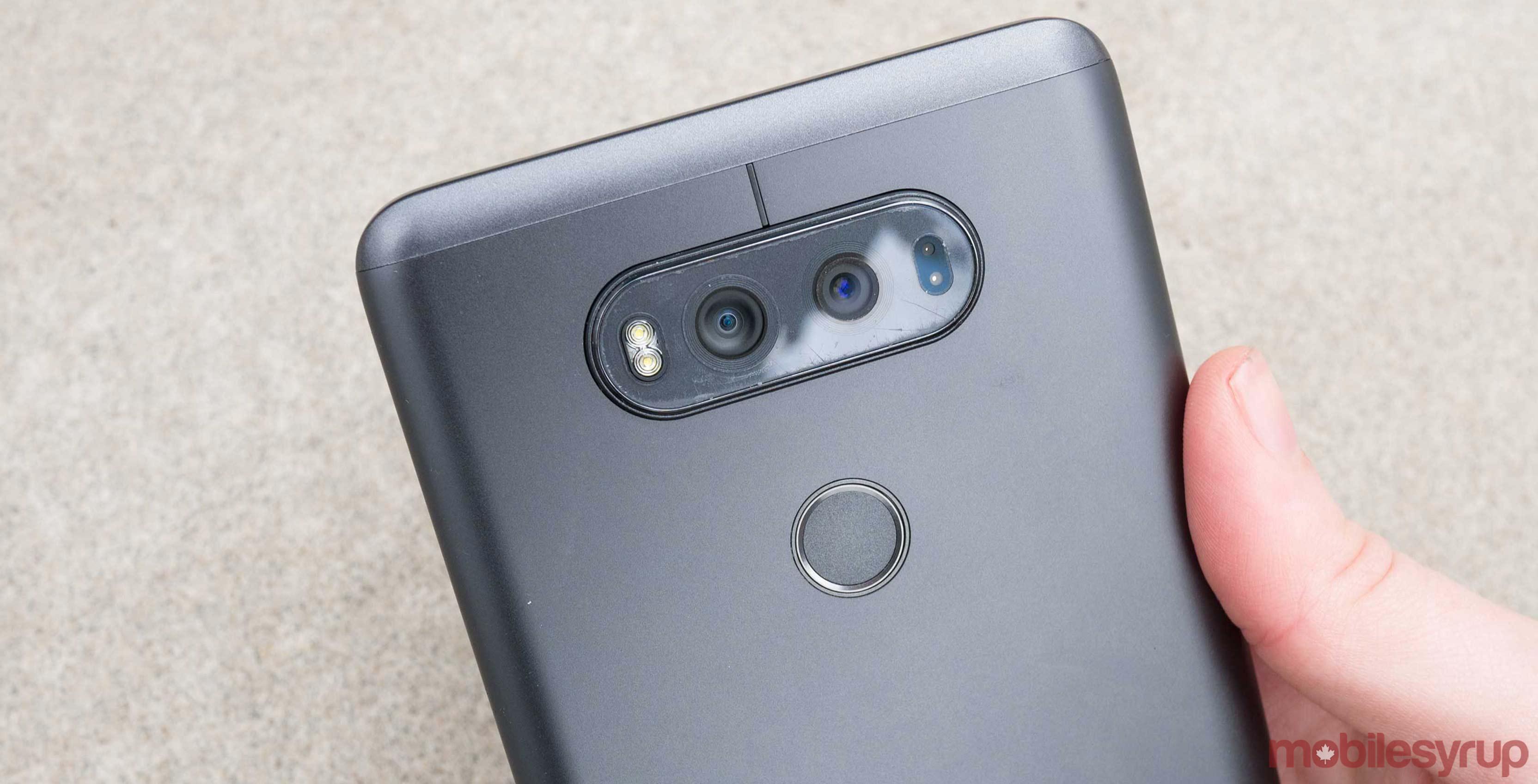 Back of LG V20 smartphone